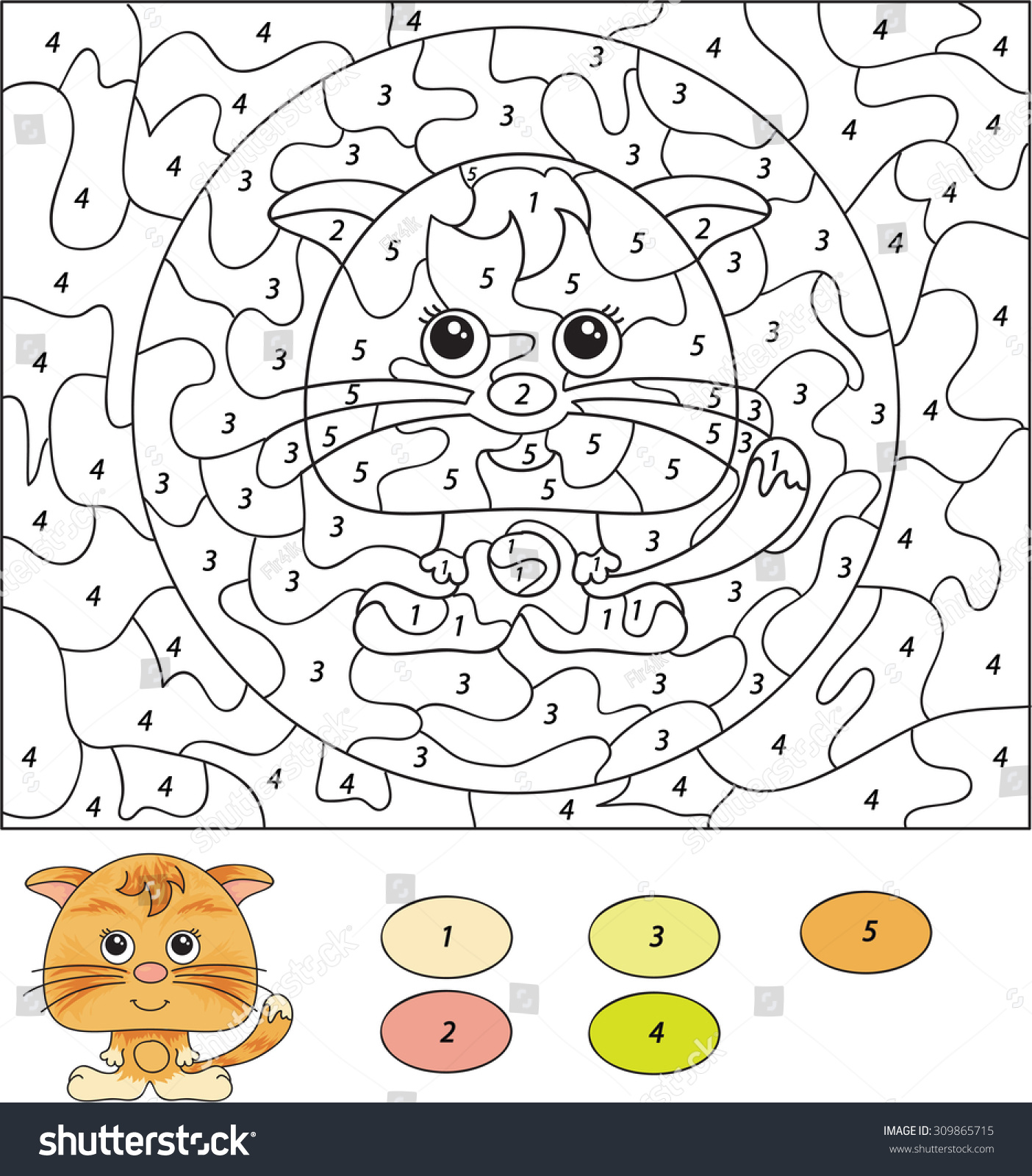 Color by numbers for preschool - Color By Number Educational Game For Kids Cute Kitten Or Cat Vector Illustration For
