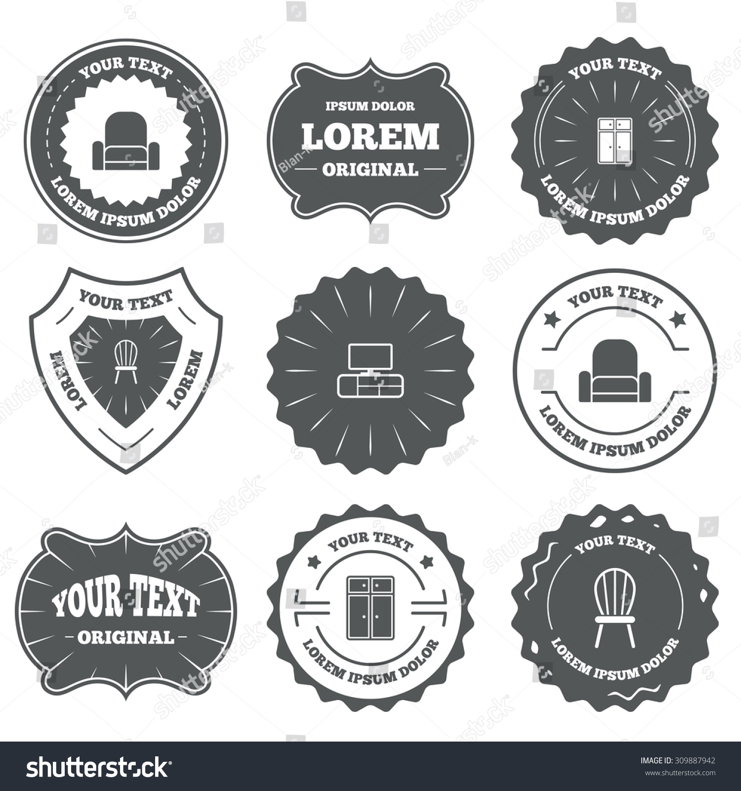 Furniture logo vector free download - Furniture Icons Cupboard Chair And Tv Table Signs