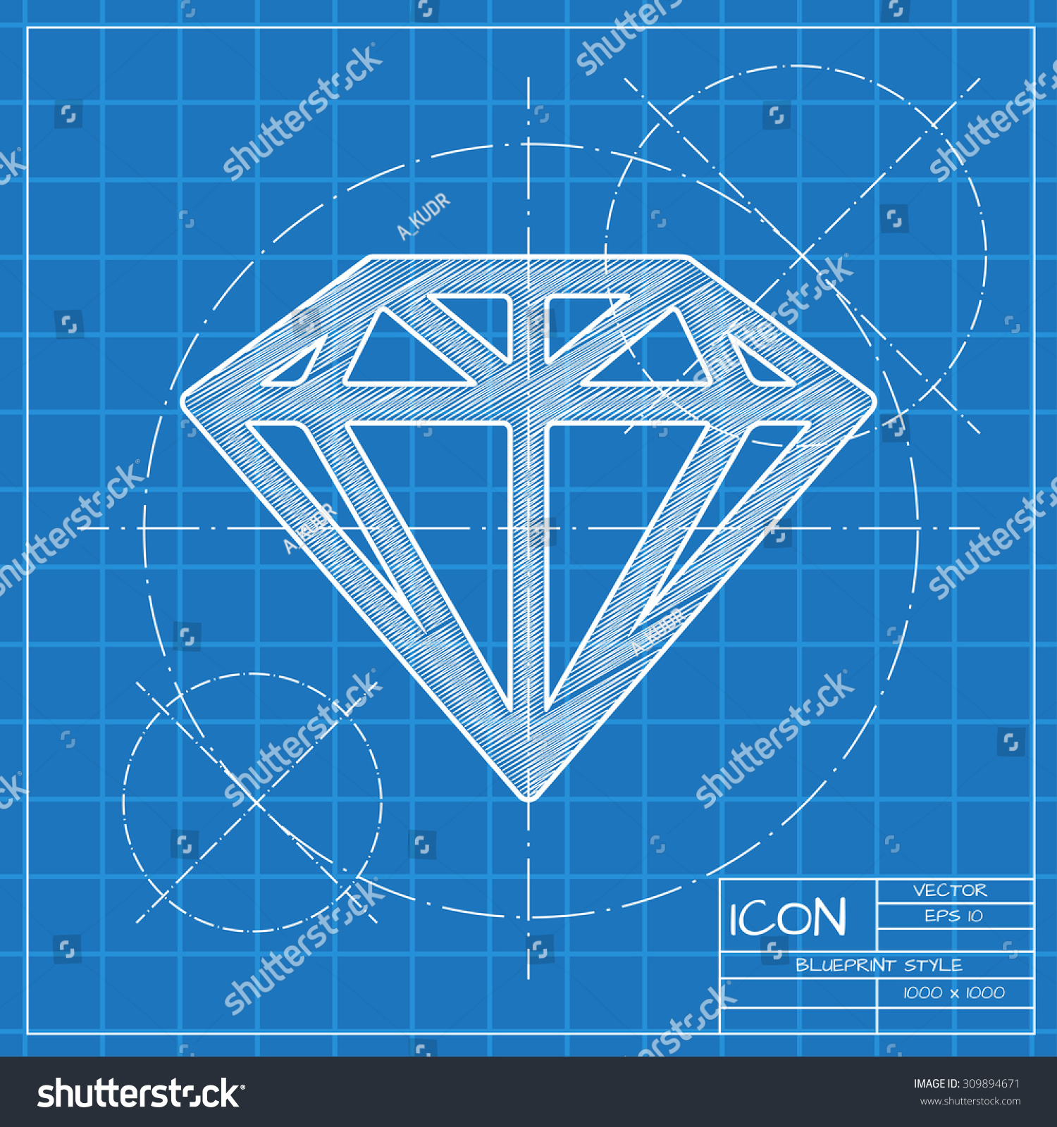Vector blueprint diamond icon engineer architect stock vector vector blueprint diamond icon engineer and architect background malvernweather Gallery