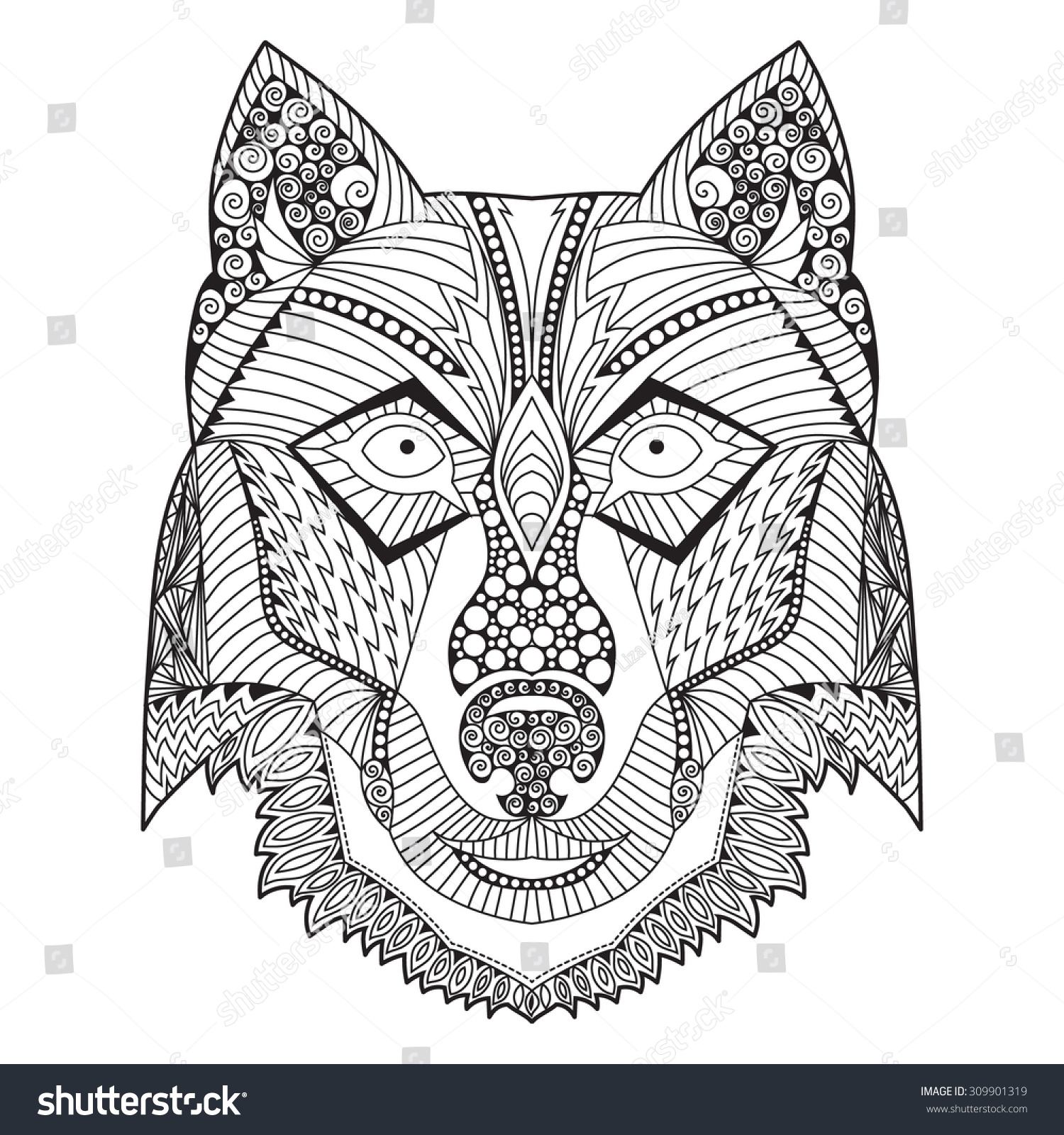 Coloring pages for adults wolf - Colouring For Adults Wolf Coloring Book Page With Hand Drawn Zentangle Ethnic Style Wolf Head