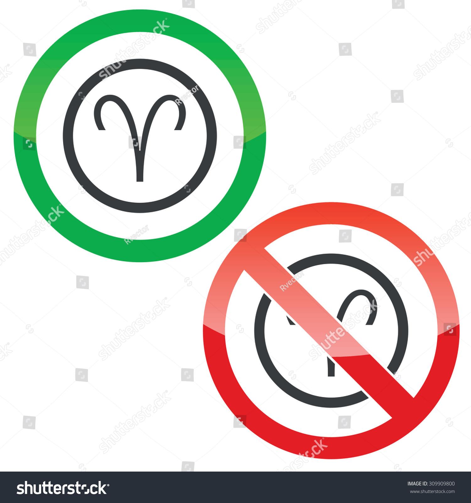Allowed Forbidden Signs Aries Zodiac Symbol Stock Illustration