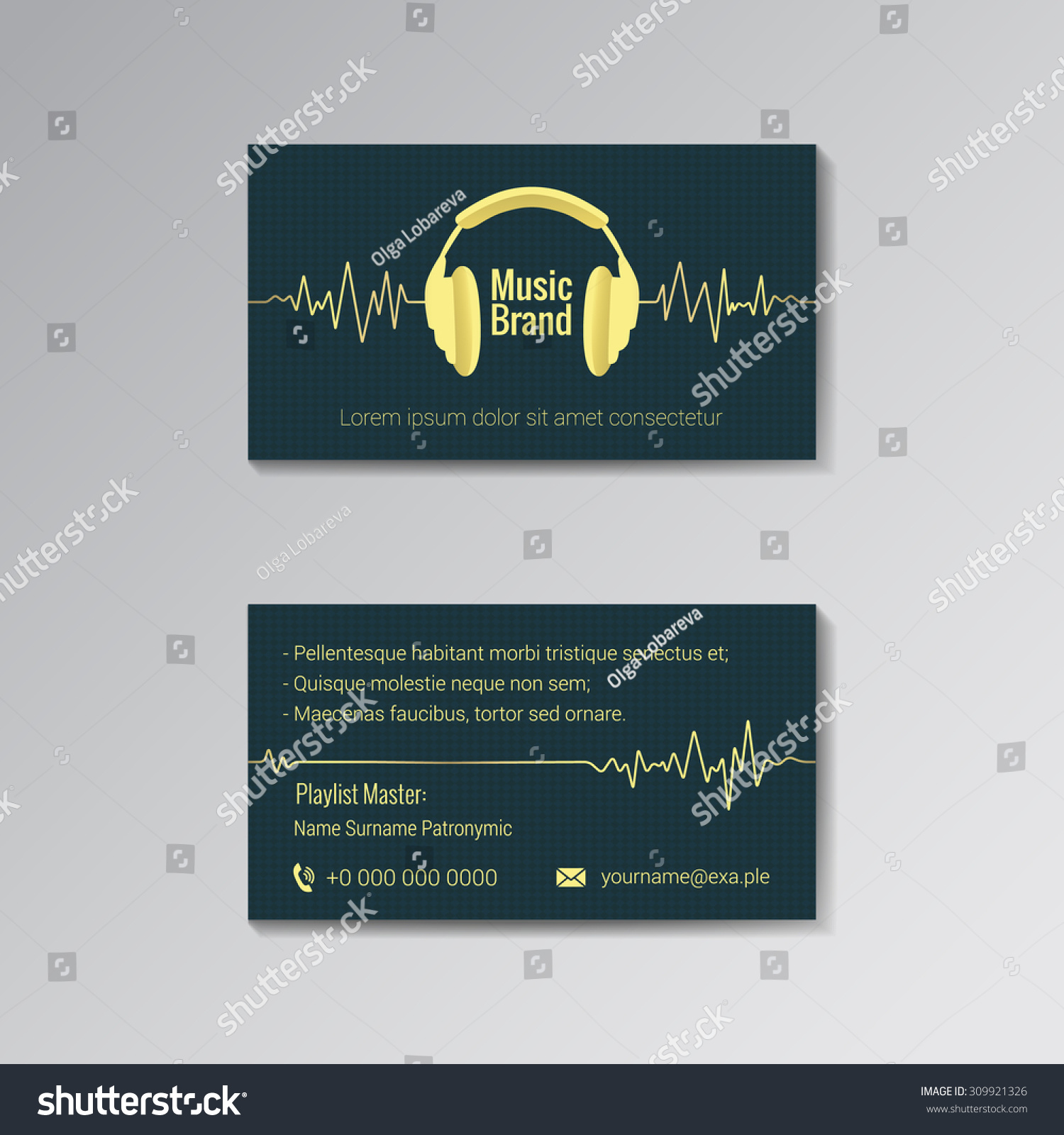 Business Card Template Music Dj Music Stock Vector