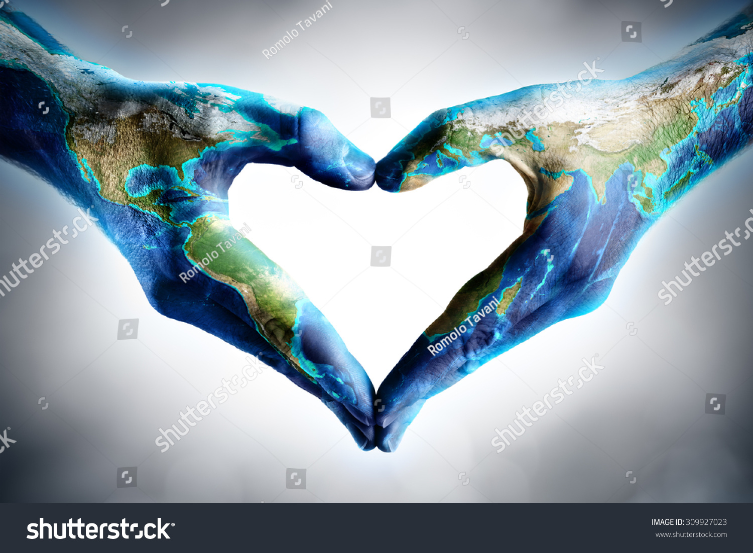 earth u0026 39 s day celebration - hands shaped heart with world map