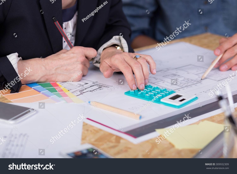 Closeup Interior Designers Estimating Project Cost Stock Photo 309932309 Shutterstock