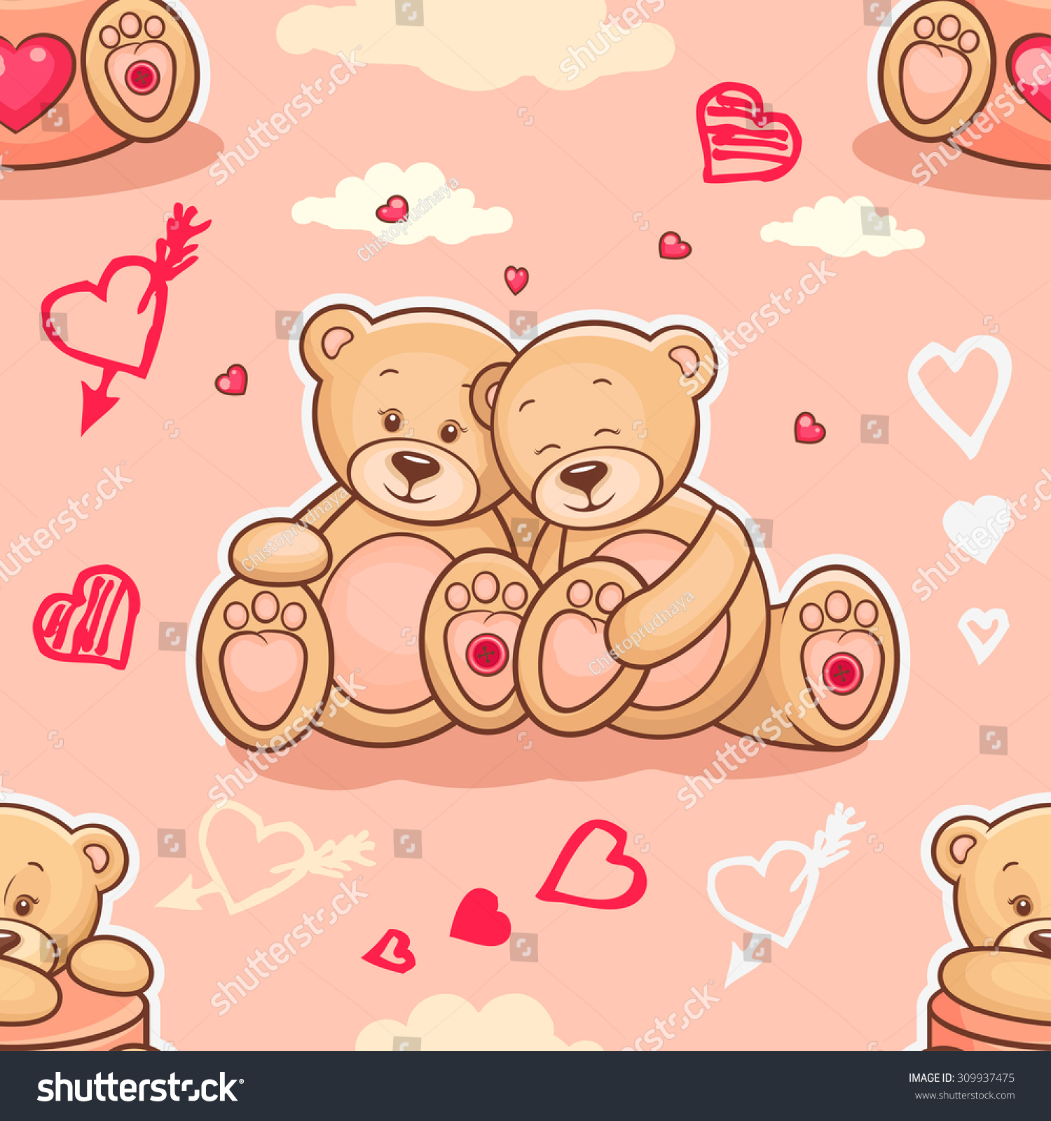 Cute Seamless Valentine Background Teddy Bears Stock Vector Royalty
