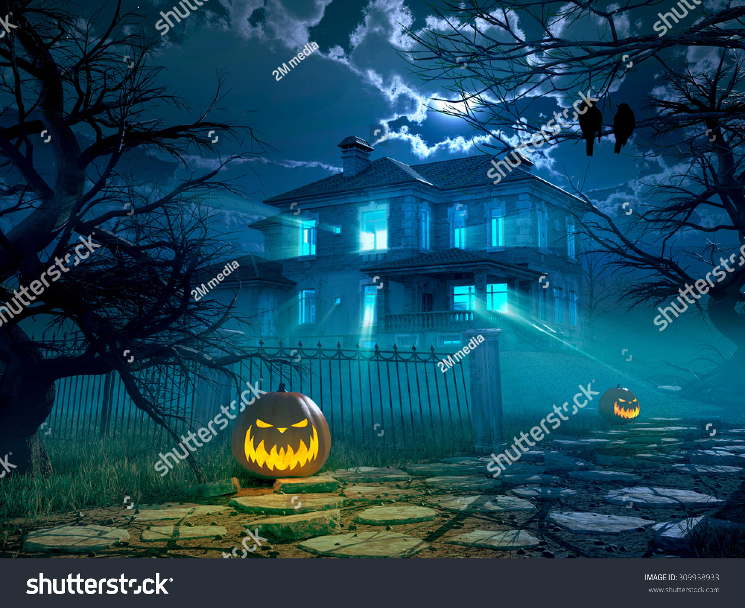 Halloween Night Background Scary House Crows Stock Illustration ...