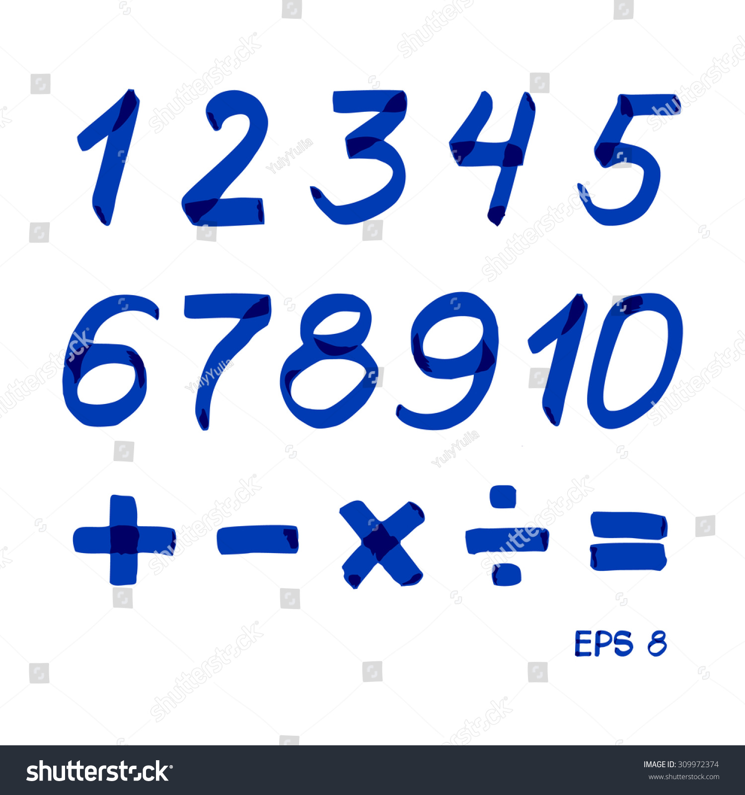 Set numbers mathematical signs blue marker stock vector 309972374 set of numbers and mathematical signs blue marker vector 8 biocorpaavc