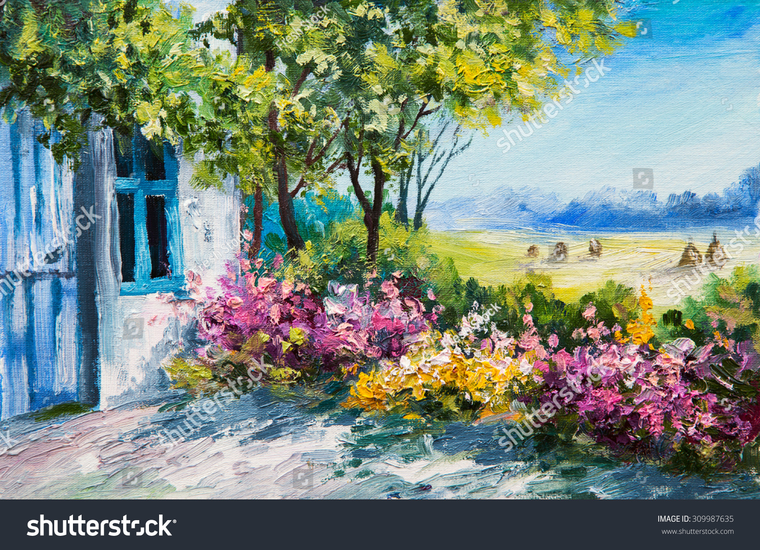 Oil Painting Landscape Garden Near House Stock Illustration ...