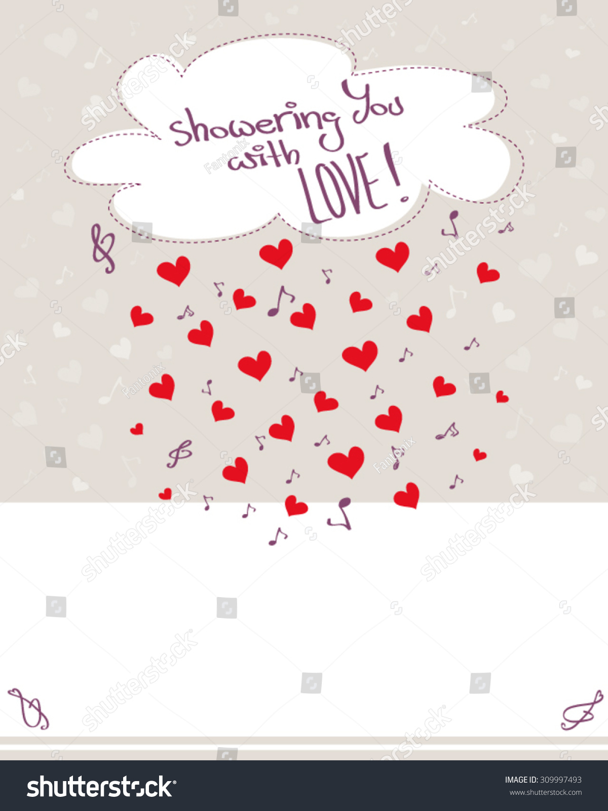 Greeting card raining hearts musical notes stock vector 309997493 greeting card with raining hearts musical notes and cloud pale background with copy space kristyandbryce Choice Image