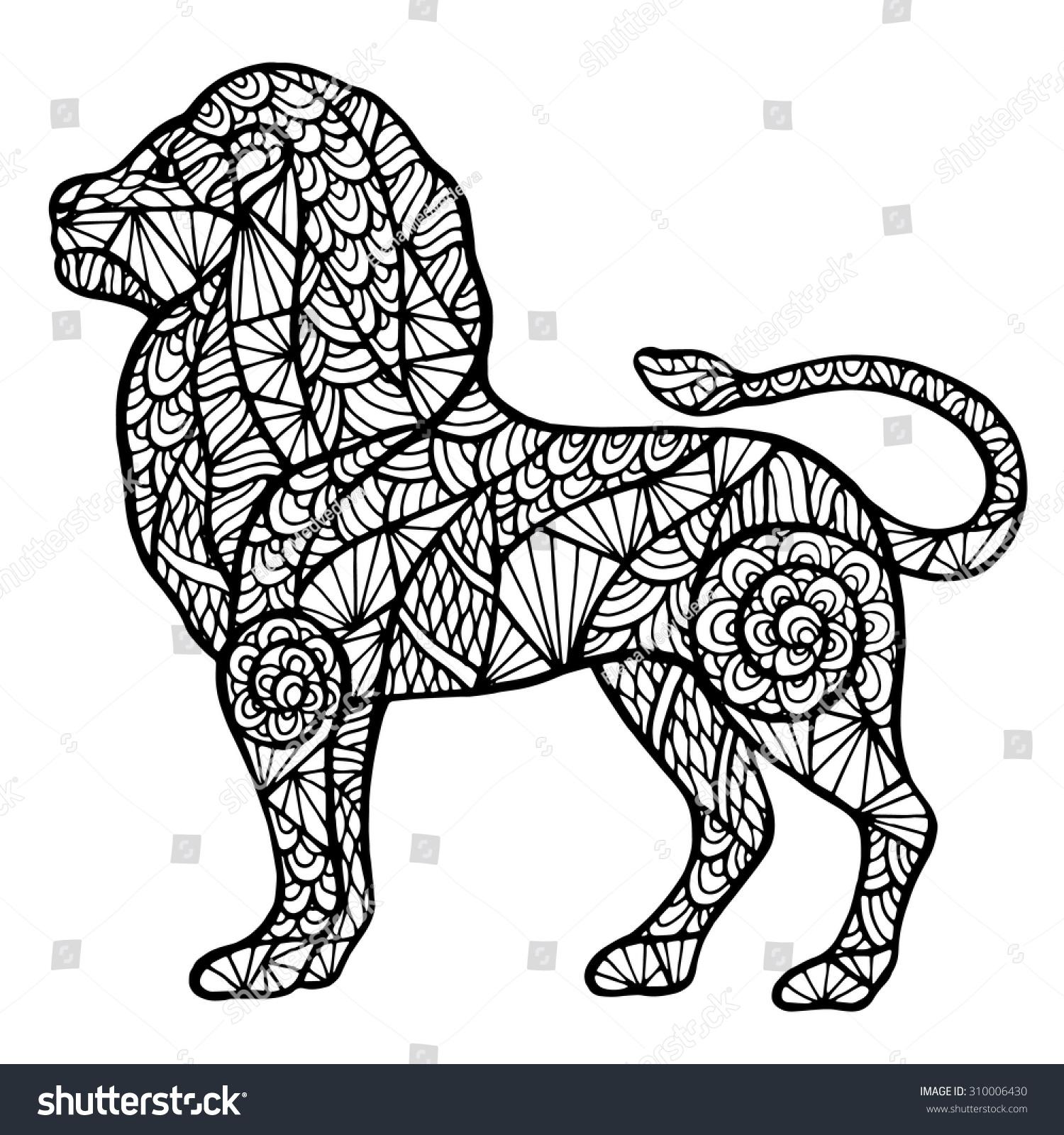 stylized lion zentange handmade isolated vector stock vector