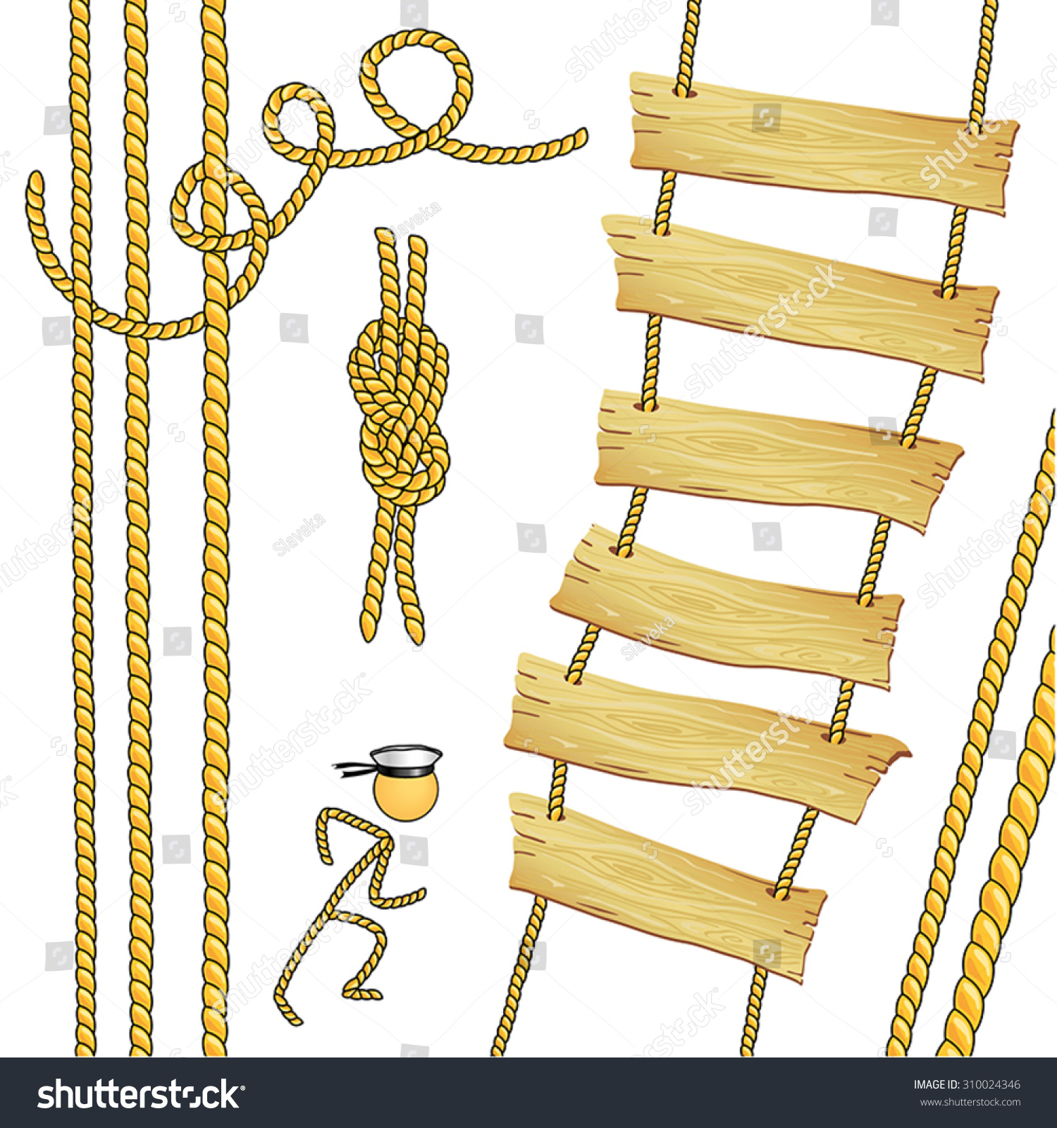 Rope Ladder Rope Reef Knot Stock Vector 310024346 - Shutterstock for Rope Ladder Knot  166kxo