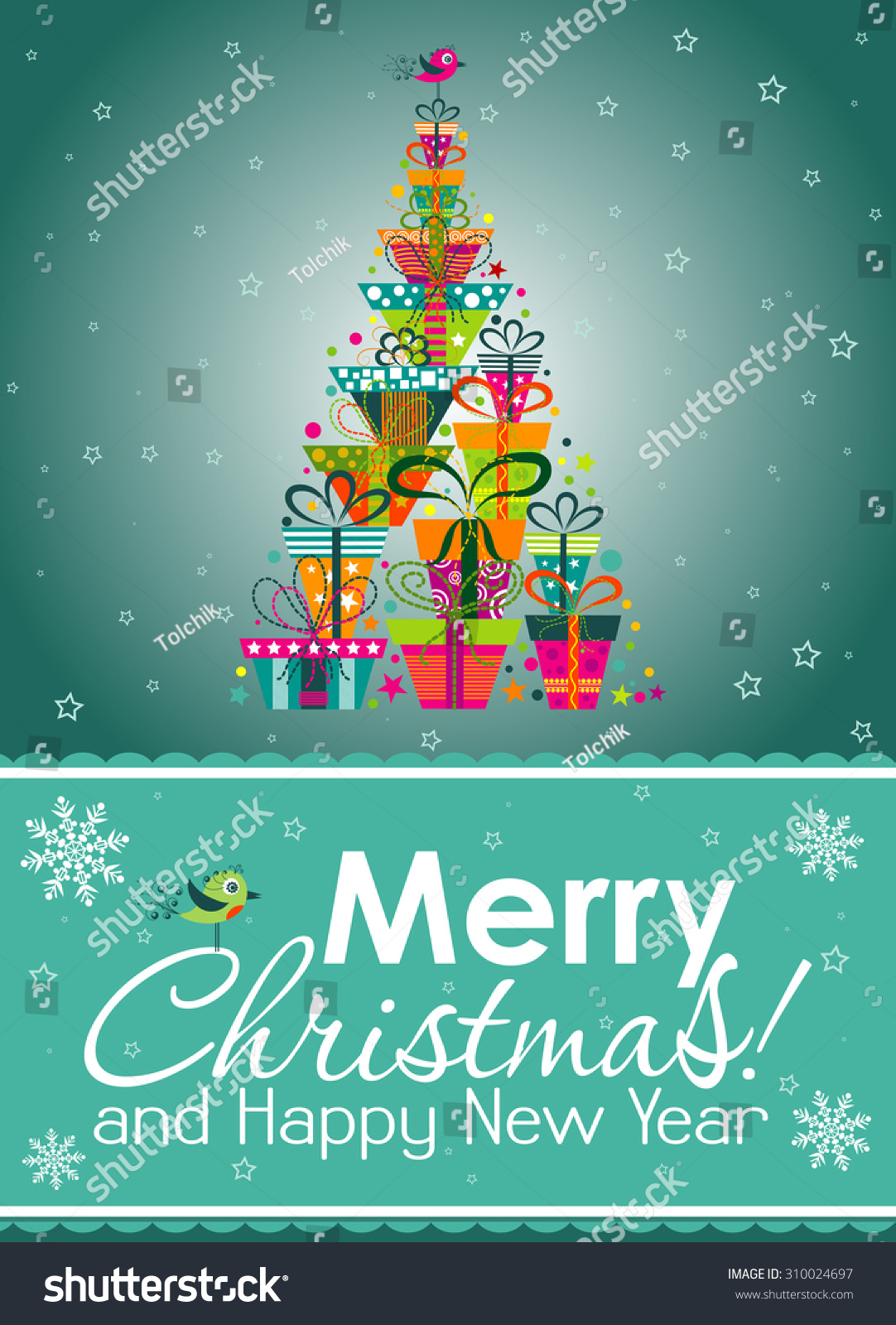 Christmas Greeting Card Vector Illustration Stock Vector (Royalty ...