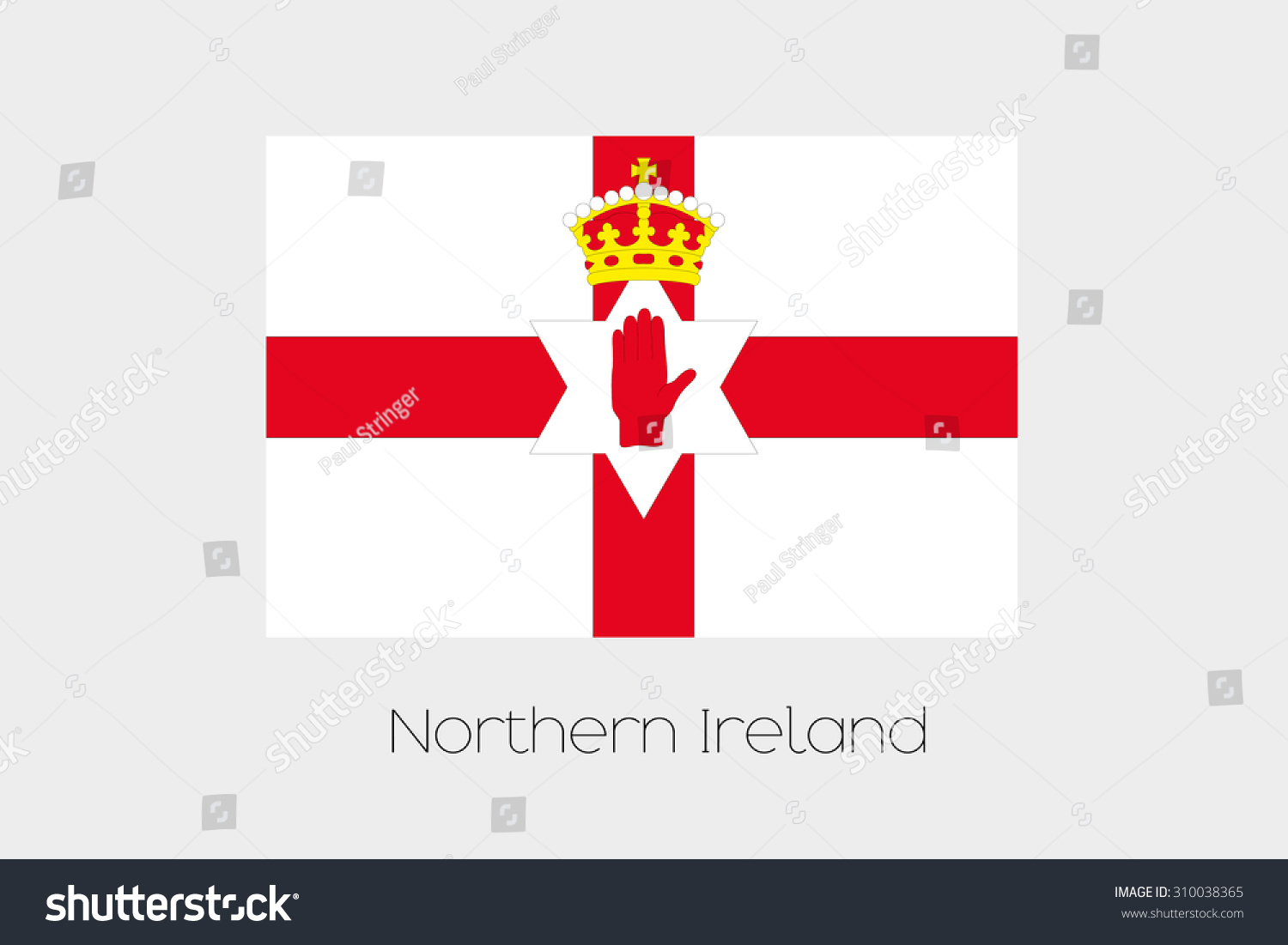 illustration flag name country northern ireland stock vector