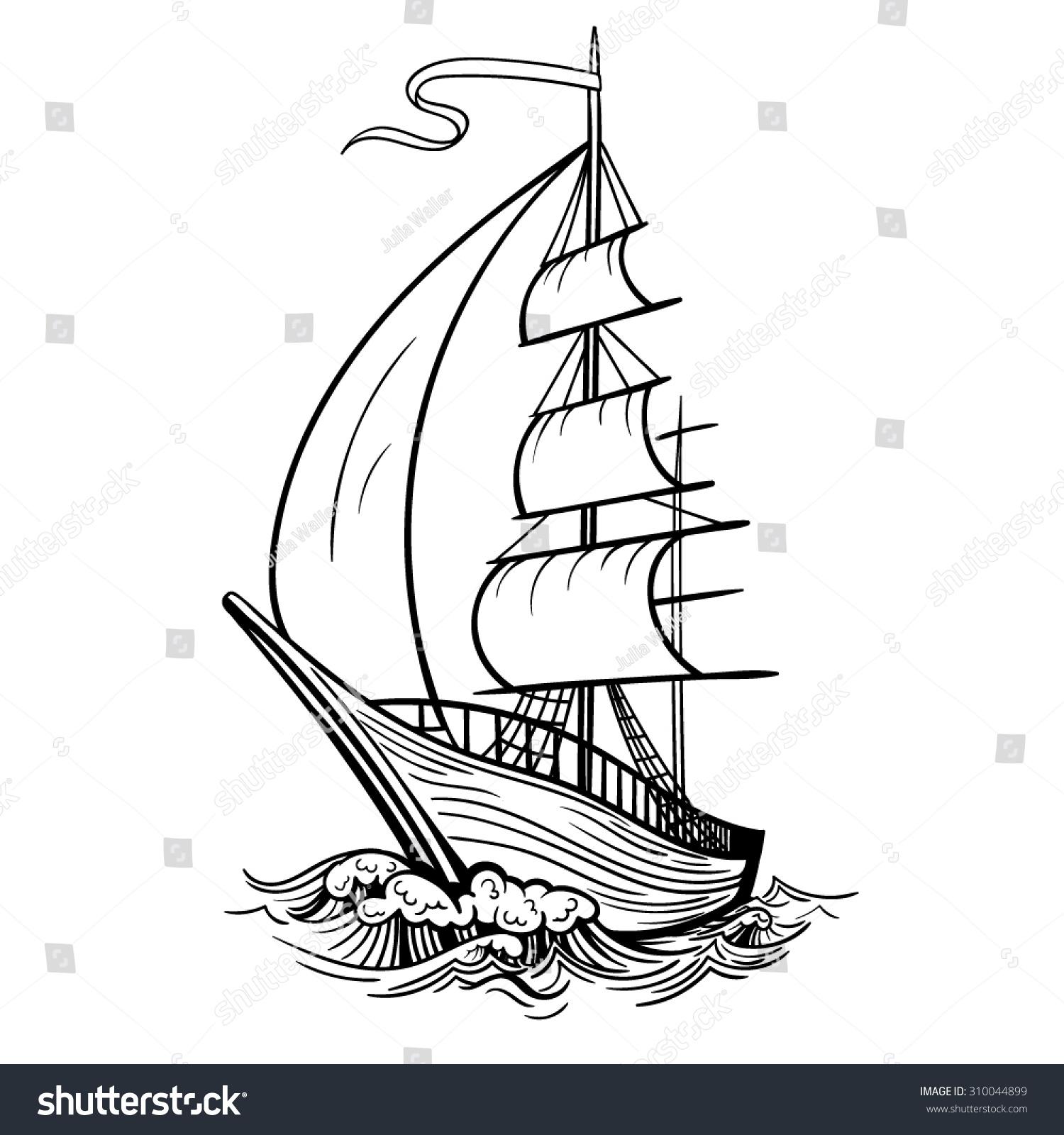 Vector Black White Tattoo Ship Stock Vector Royalty Free