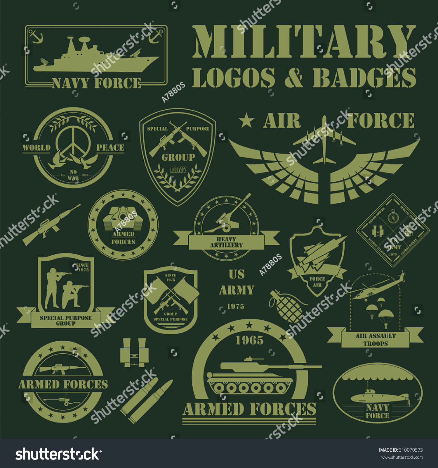 military armored vehicles logos badges graphic stock vector 310070573 shutterstock. Black Bedroom Furniture Sets. Home Design Ideas