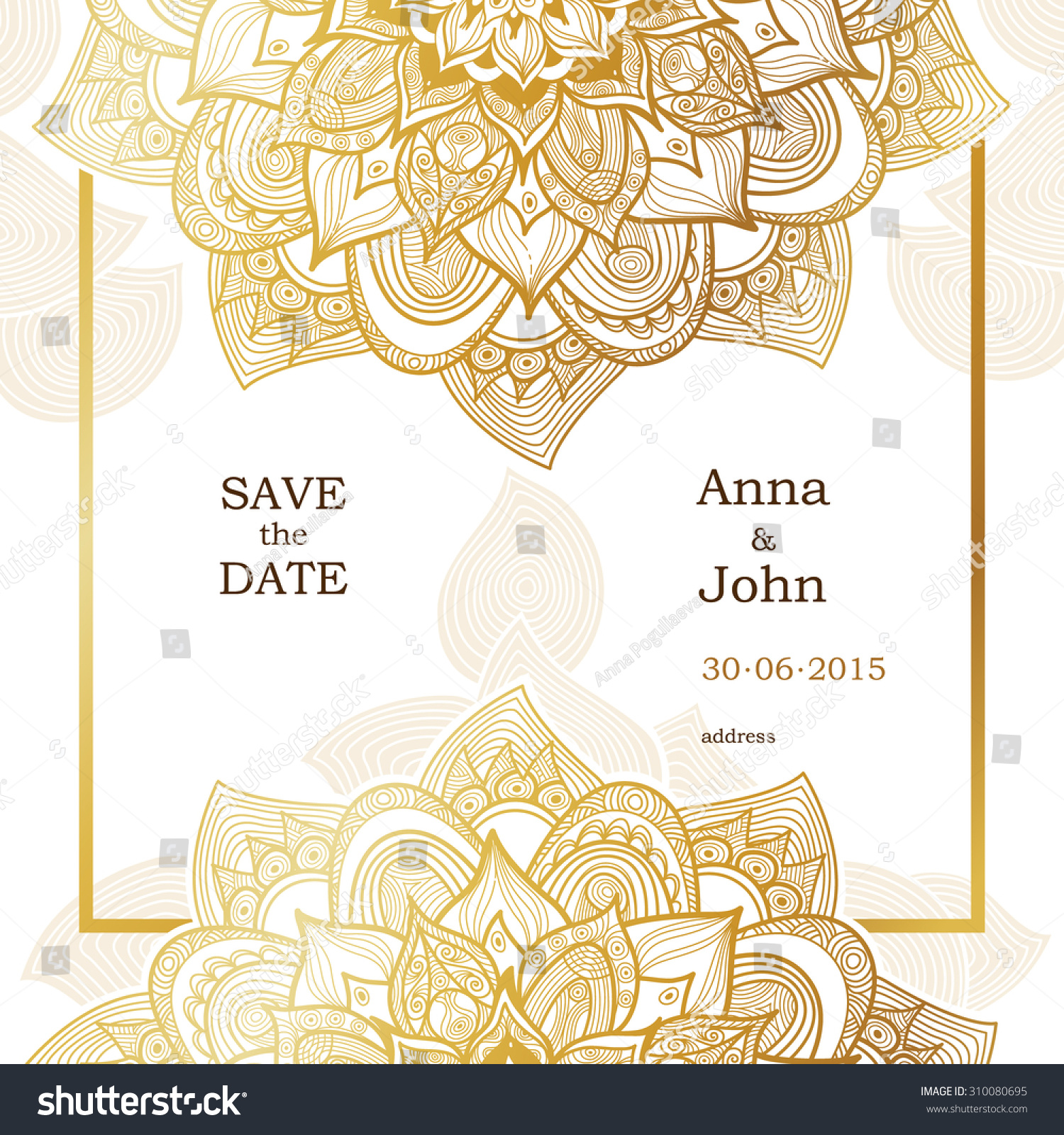Golden vintage ornate cards outline floral stock vector for Decor outline