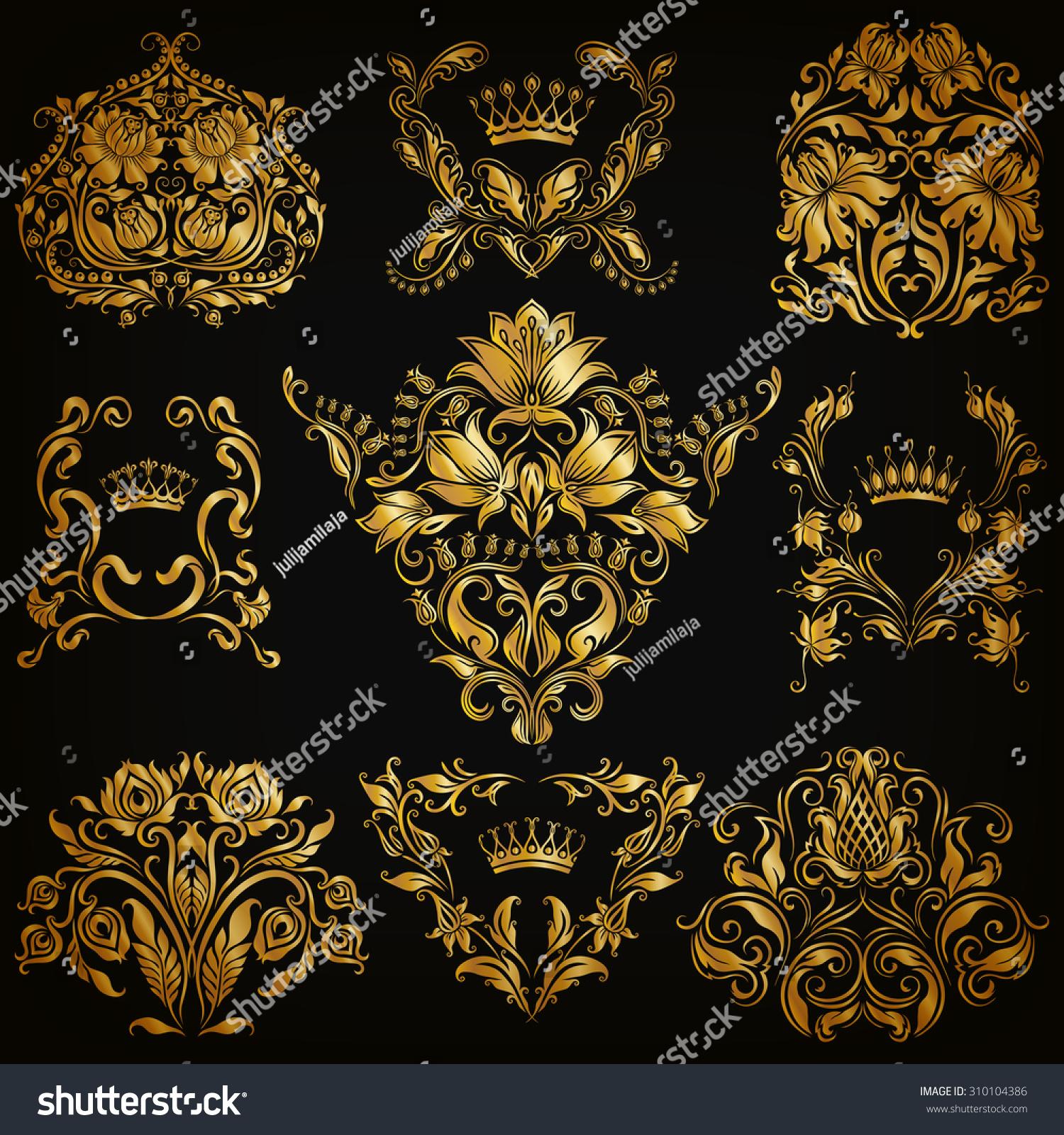 Set Of Black Flower Design Elements Stock Vector: Set Gold Damask Ornaments Floral Elements Stock Vector