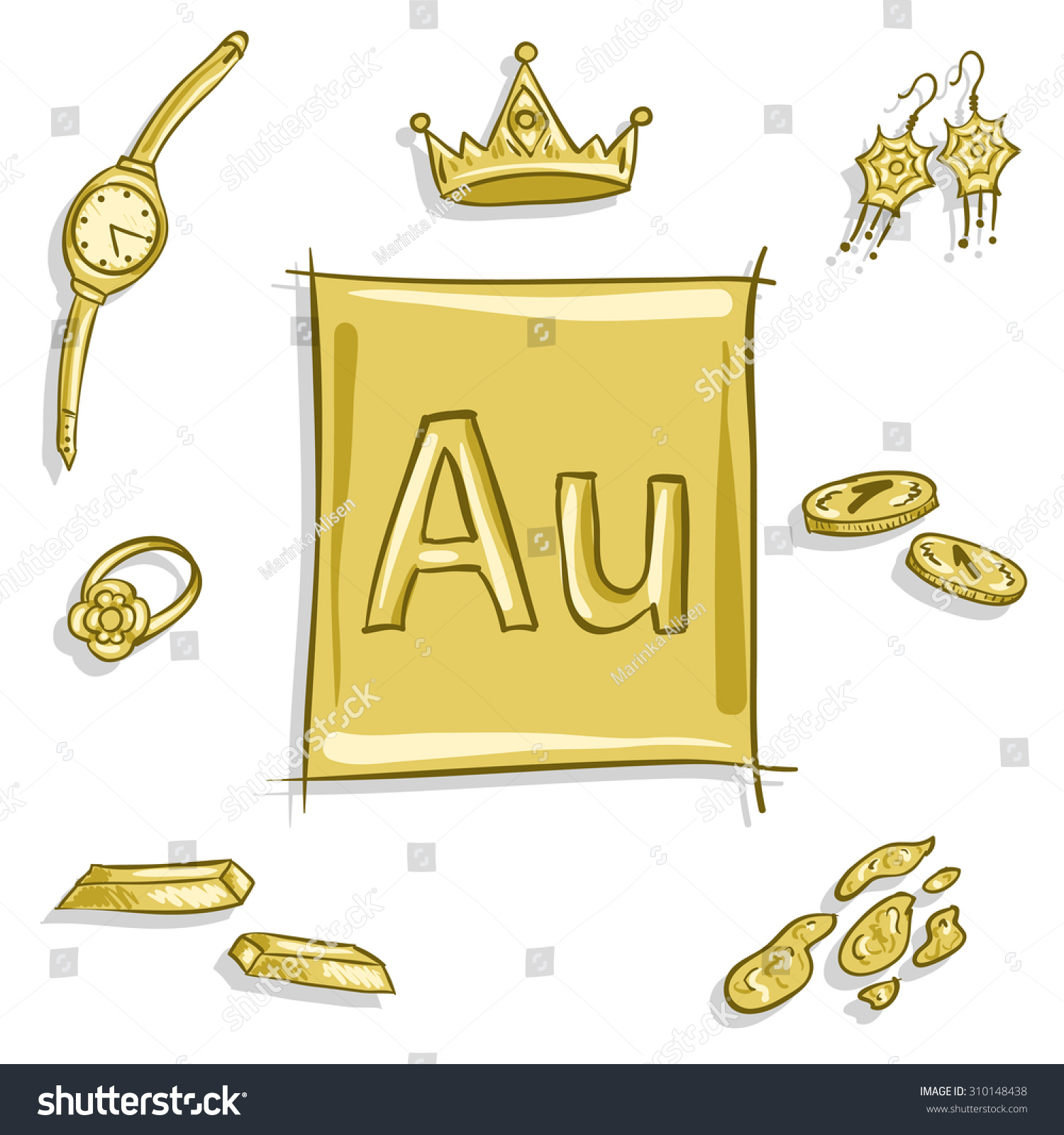 Royalty Free Chemical Element Au Aurum Gold 310148438 Stock