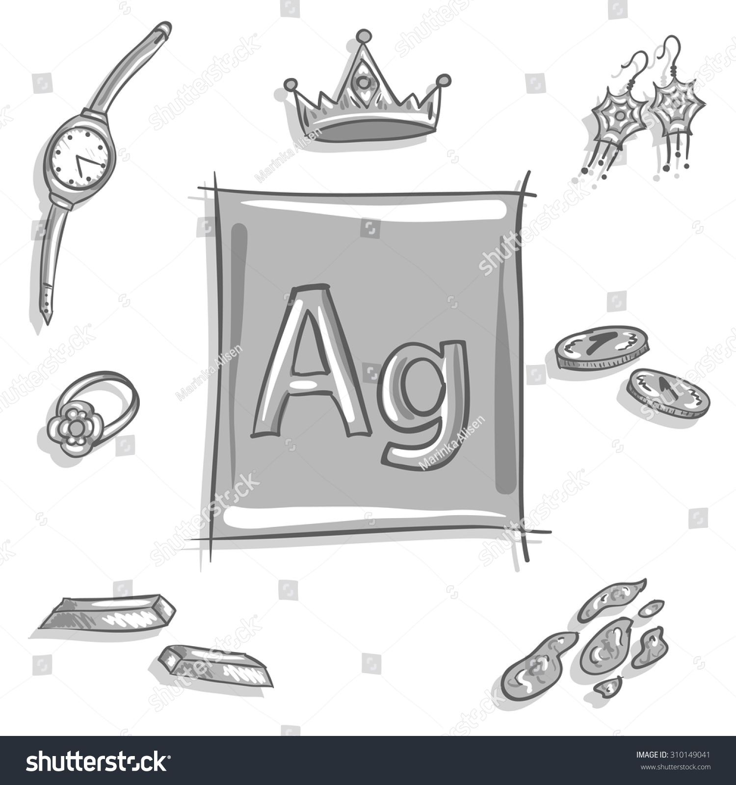 Element Silvers: Royalty-free Chemical Element Ag (silver, Argentum