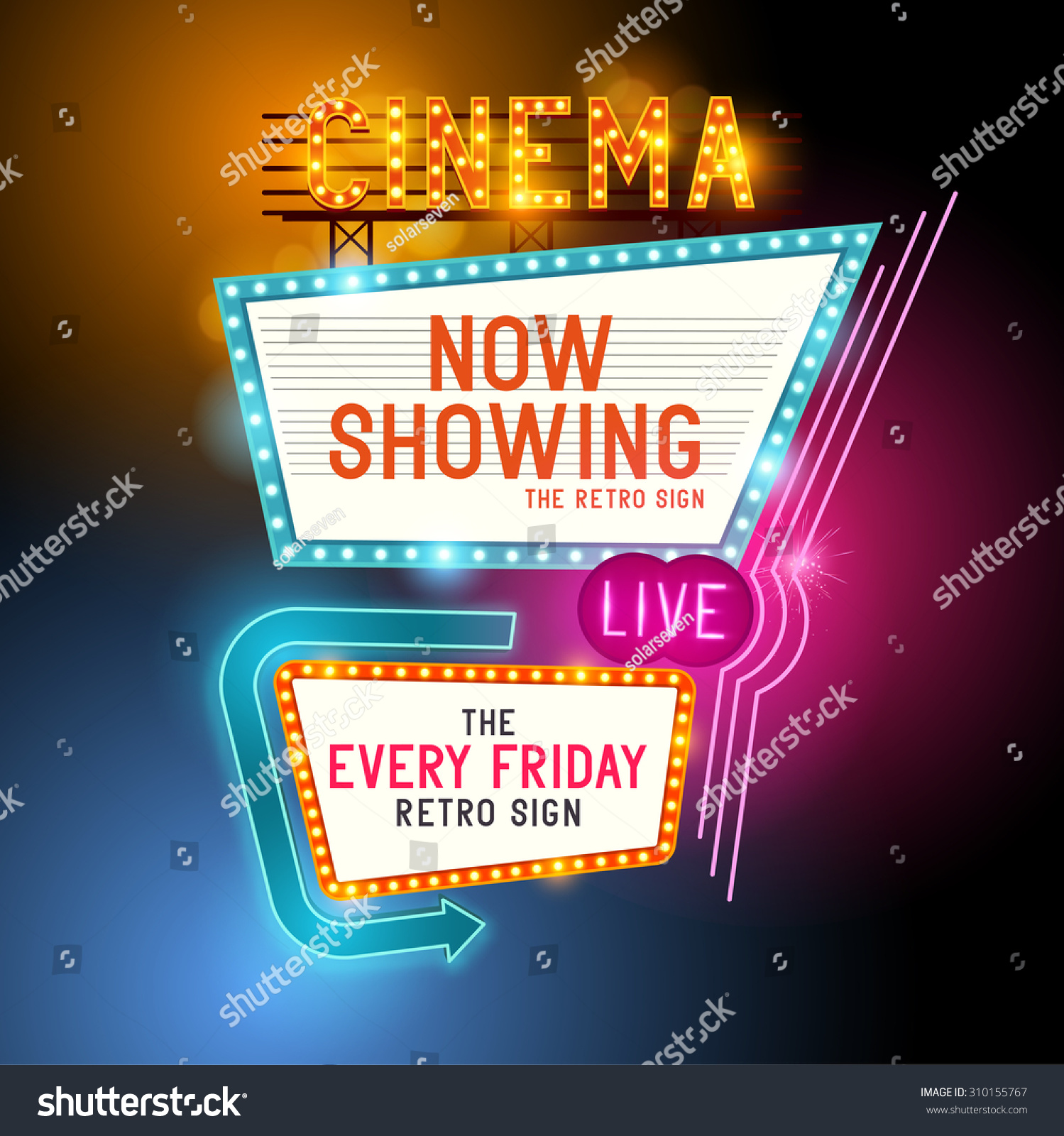 cinema vector sign with glowing neon lights 310155767