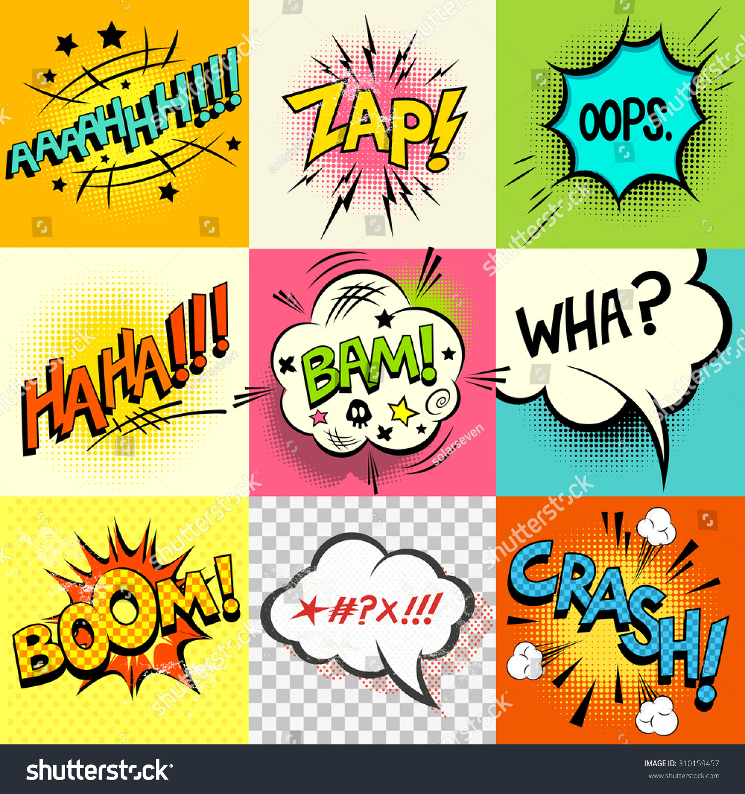 Expression Of Words Written In Ink: Comic Book Speech Bubbles And Expression Words. Stock