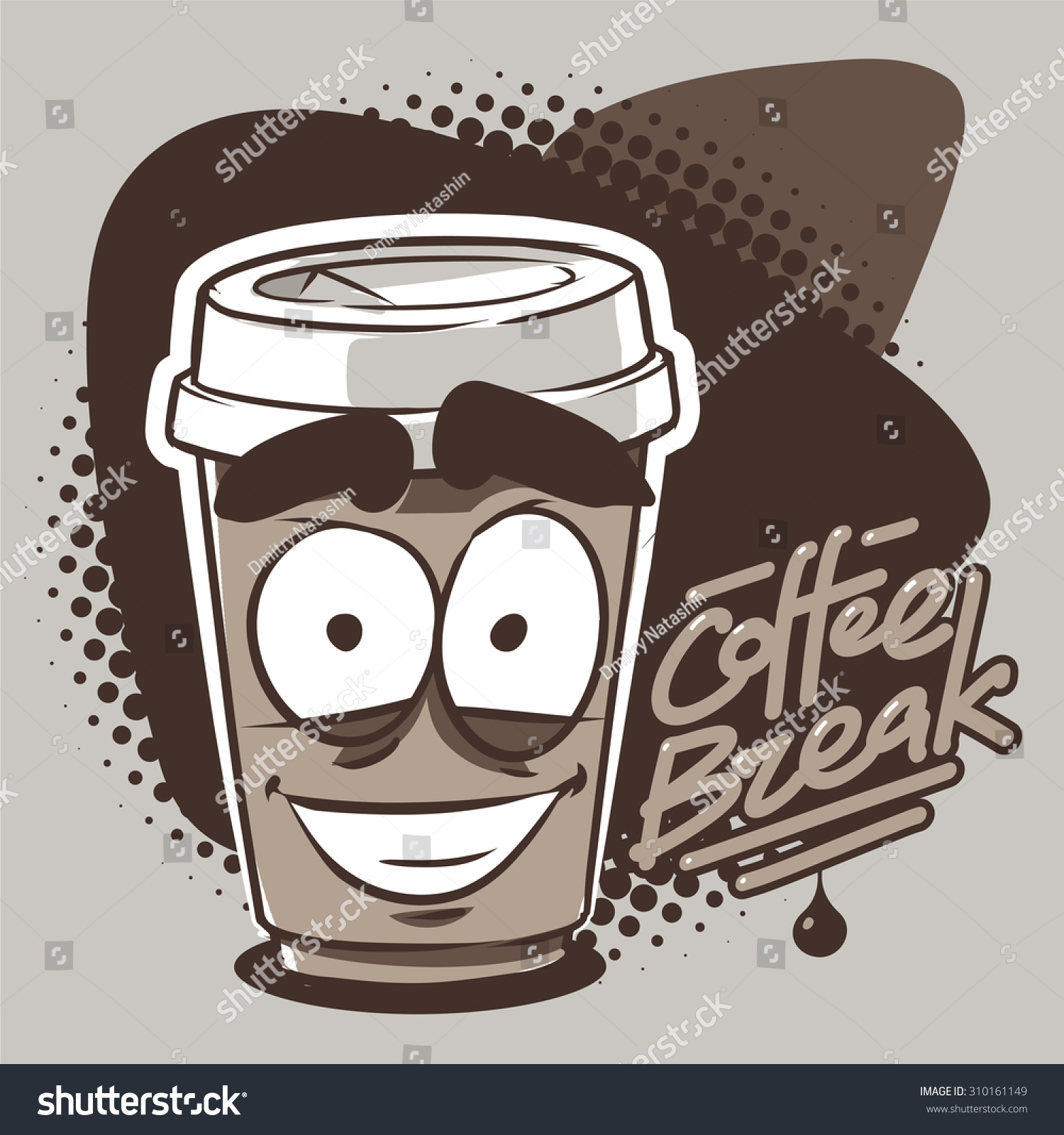 Larger preview vector clip art of a happy yellow coffee cup character - Smiling Takeaway Coffee Cup Character