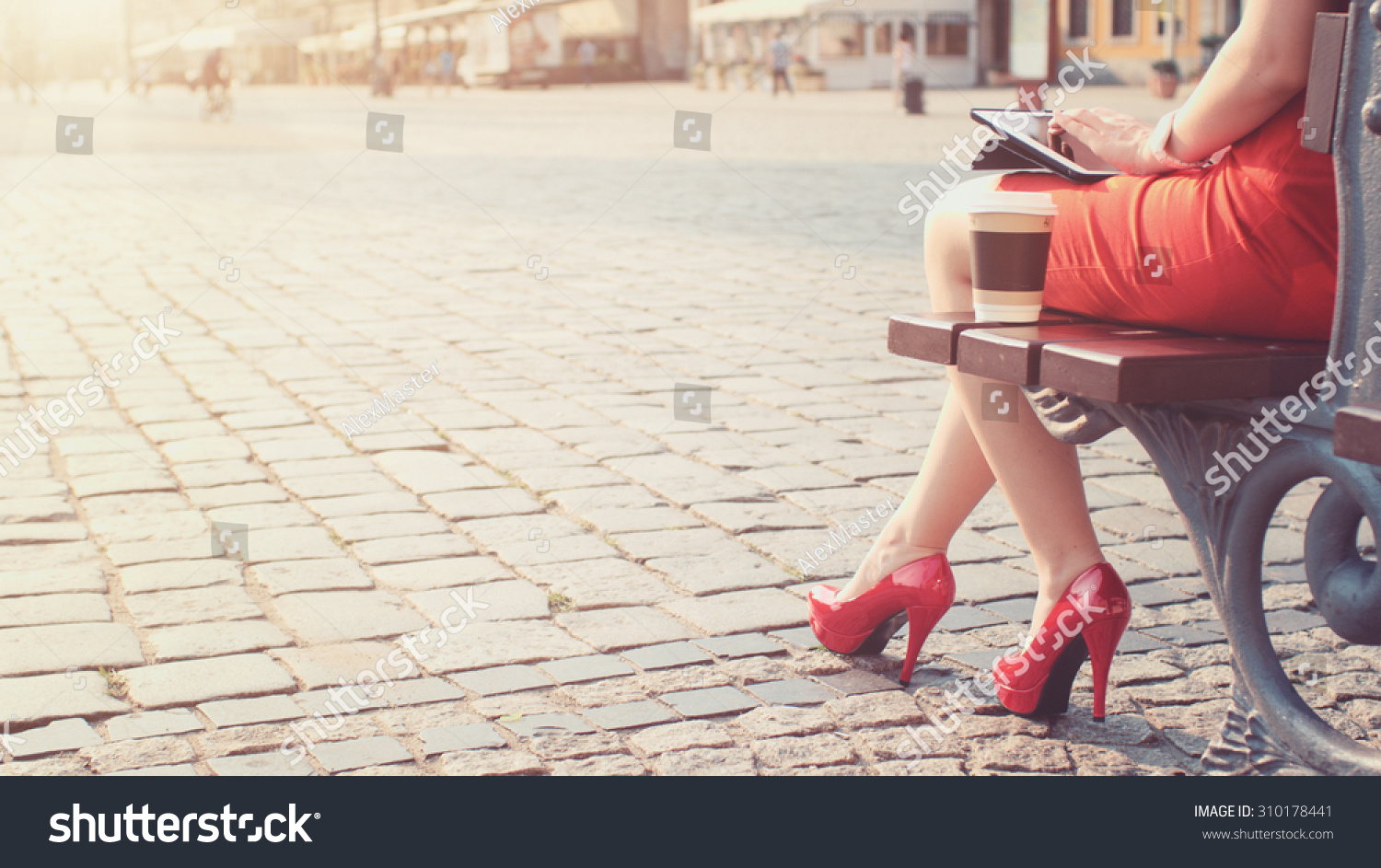 Woman Red Highheeled Shoes Dress Using Stock Photo -8428