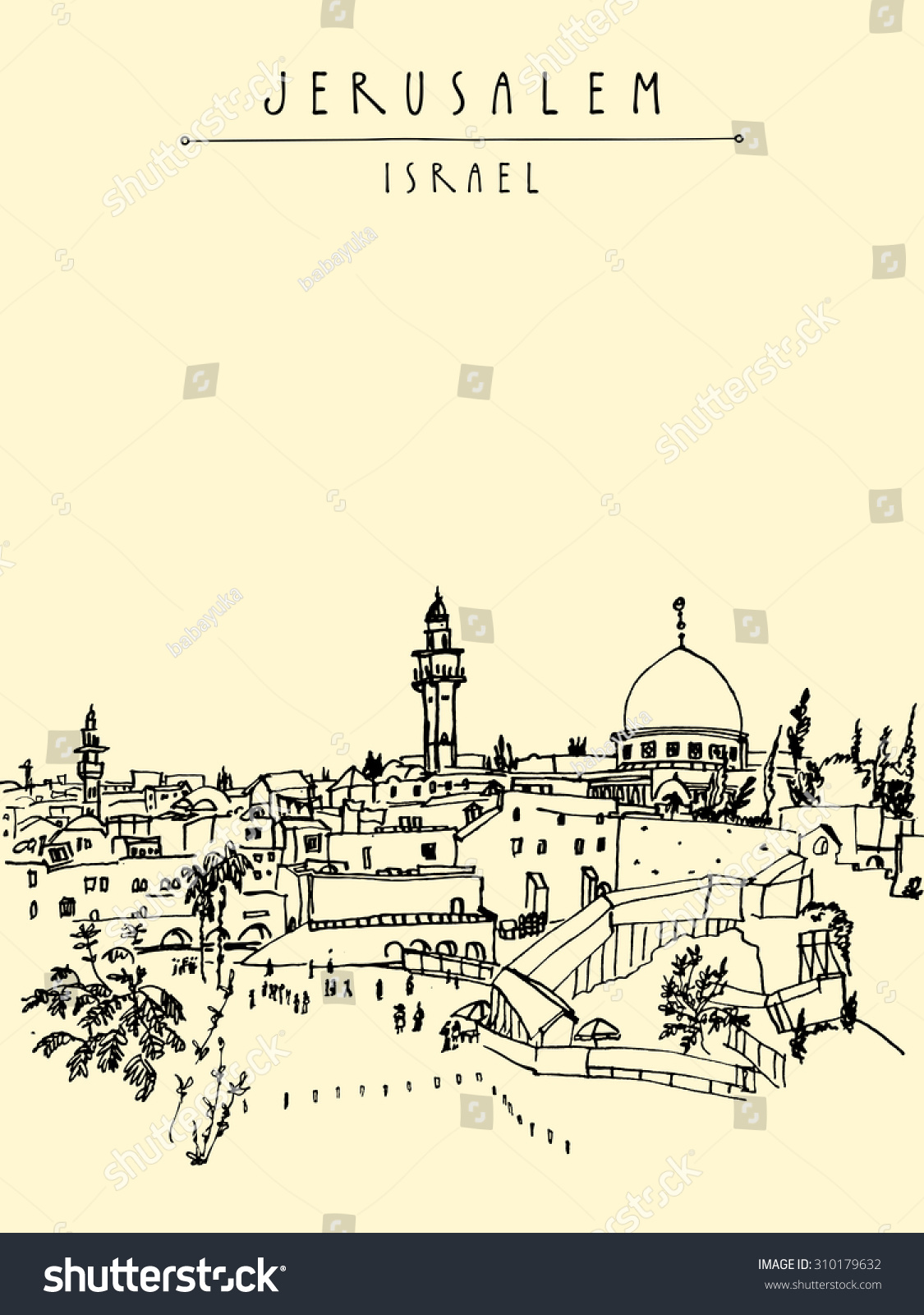 Jerusalem Israel old city skyline Wailing wall Handmade drawing isolated in vector Postcard or coloring book Freehand drawing Jerusalem city view background with Jerusalem Israel hand lettering