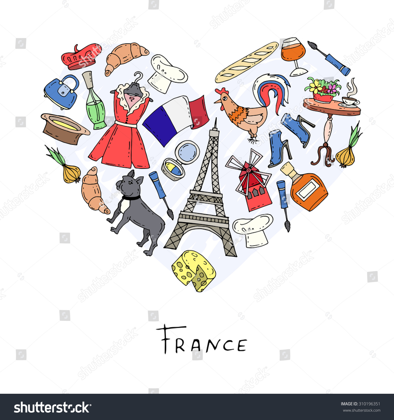 Stylized Heart Hand Drawn Symbols France Stock Vector Royalty Free