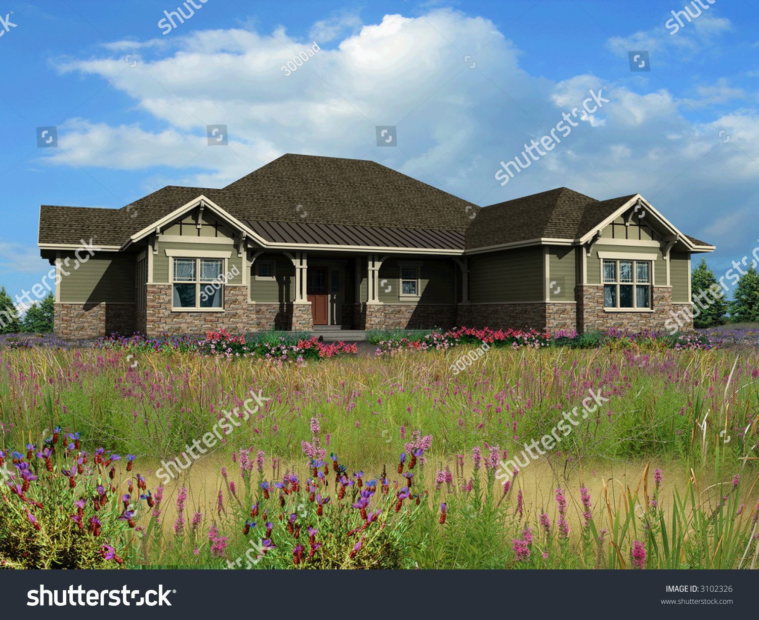 3d model of green siding ranch house photo matched on for Green siding house