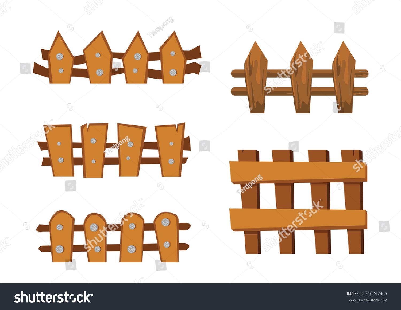 Wood fence cartoon object stock vector