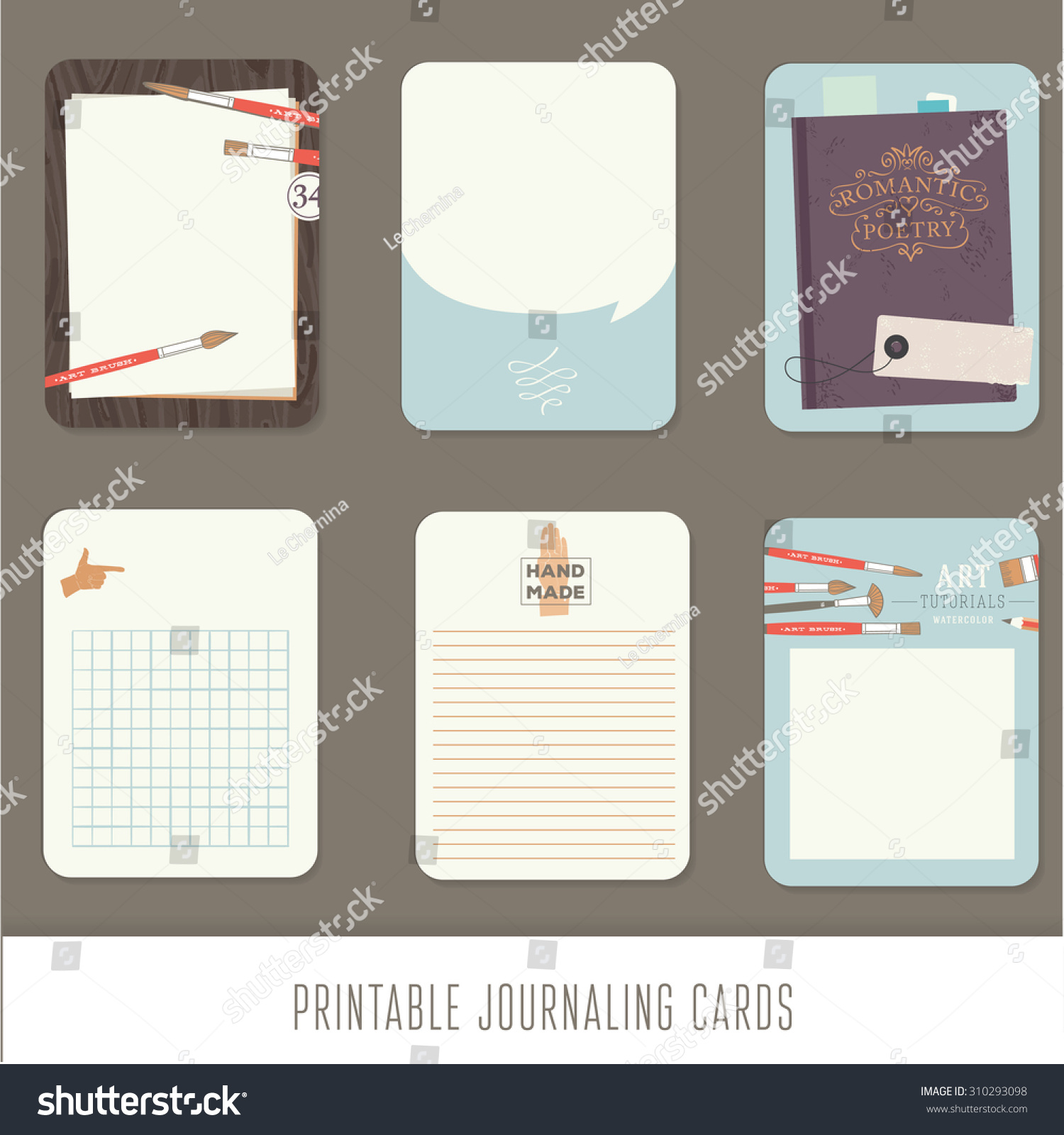 Journaling cards notes stickers labels tags with cute decorative illustrations Template for scrapbooking wrapping notebooks notebook diary decals Vintage vector art tools