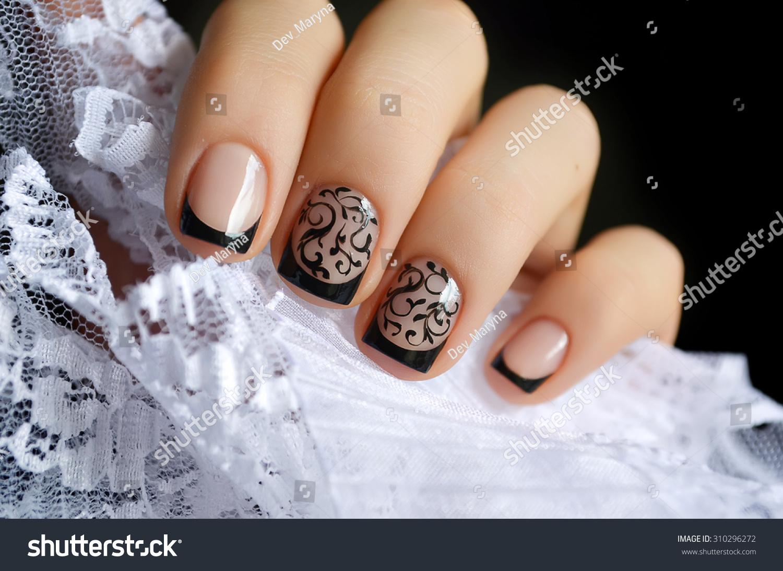 Beautiful black nail art design white stock photo 310296272 beautiful black nail art design and white lace prinsesfo Images