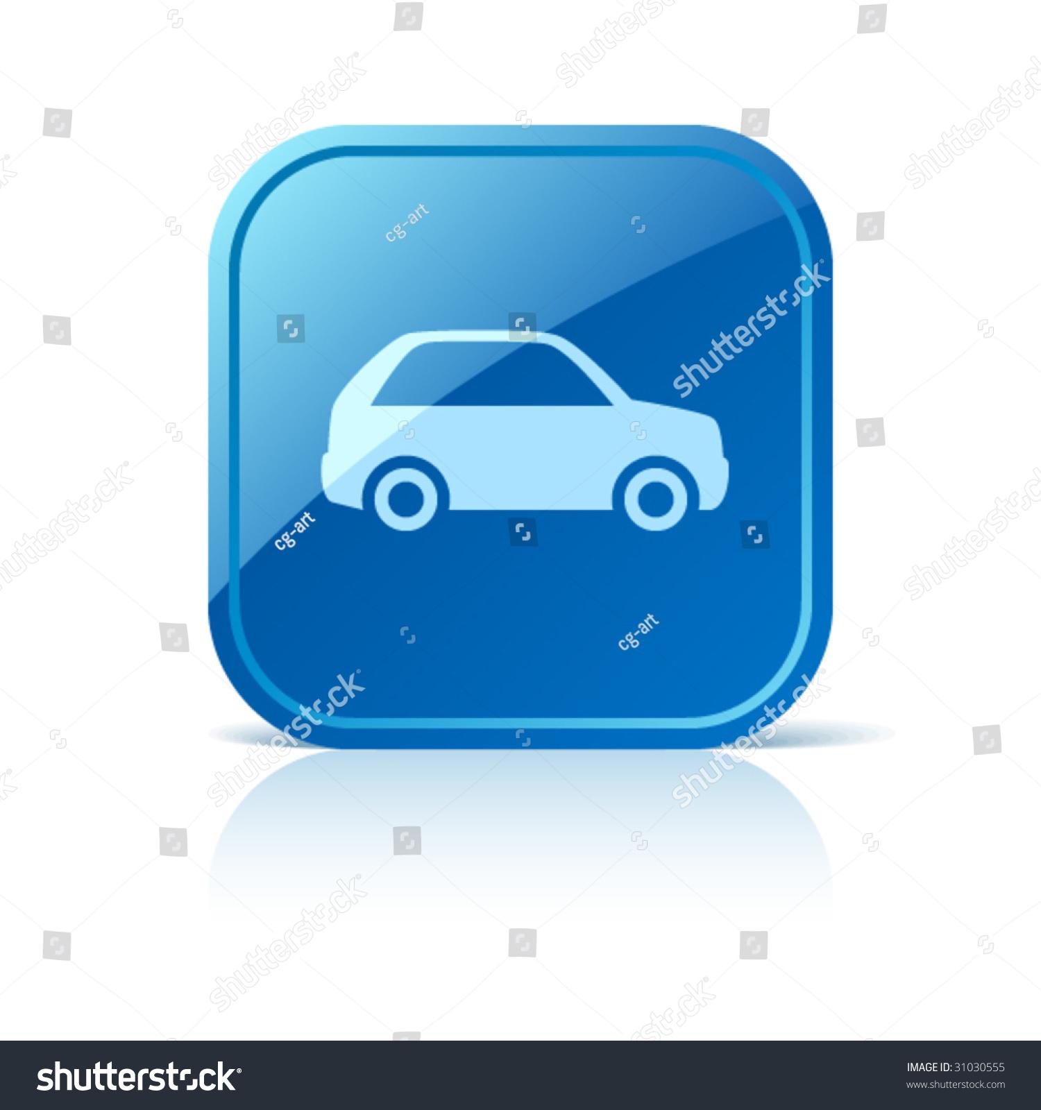 Car Icon On Blue Gloss...