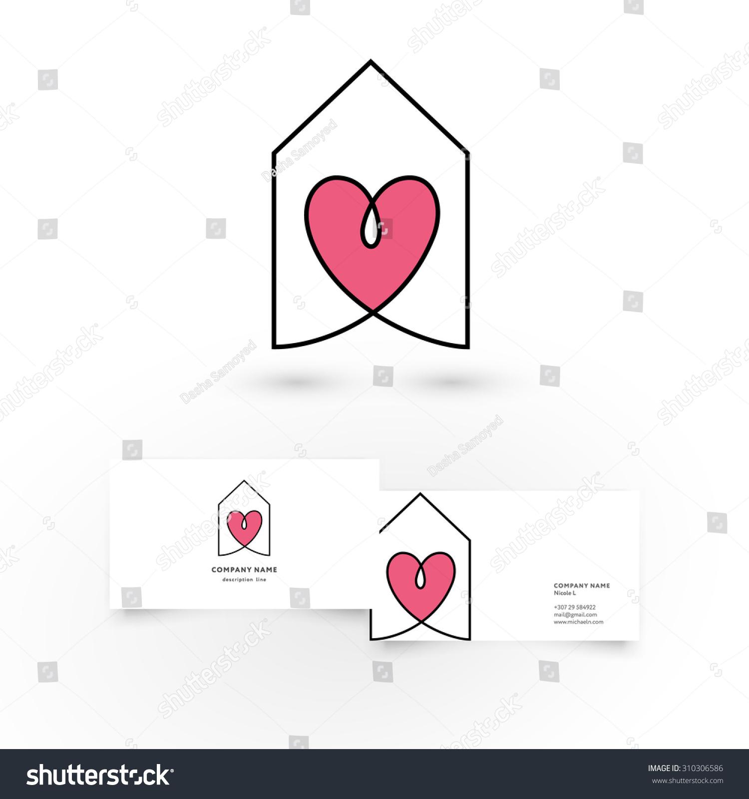 modern icon design house heart inside stock vector