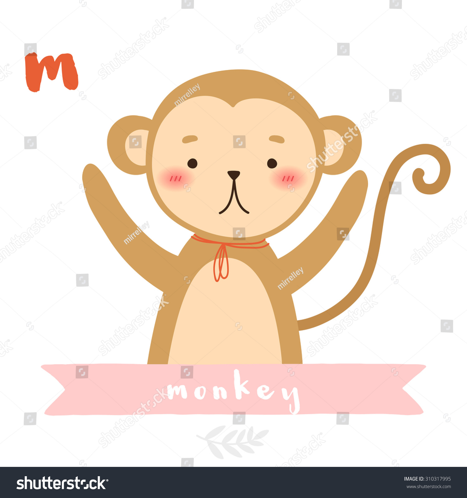 Illustration Cute Cartoon Monkey Ribbon On Stock Vector 310317995