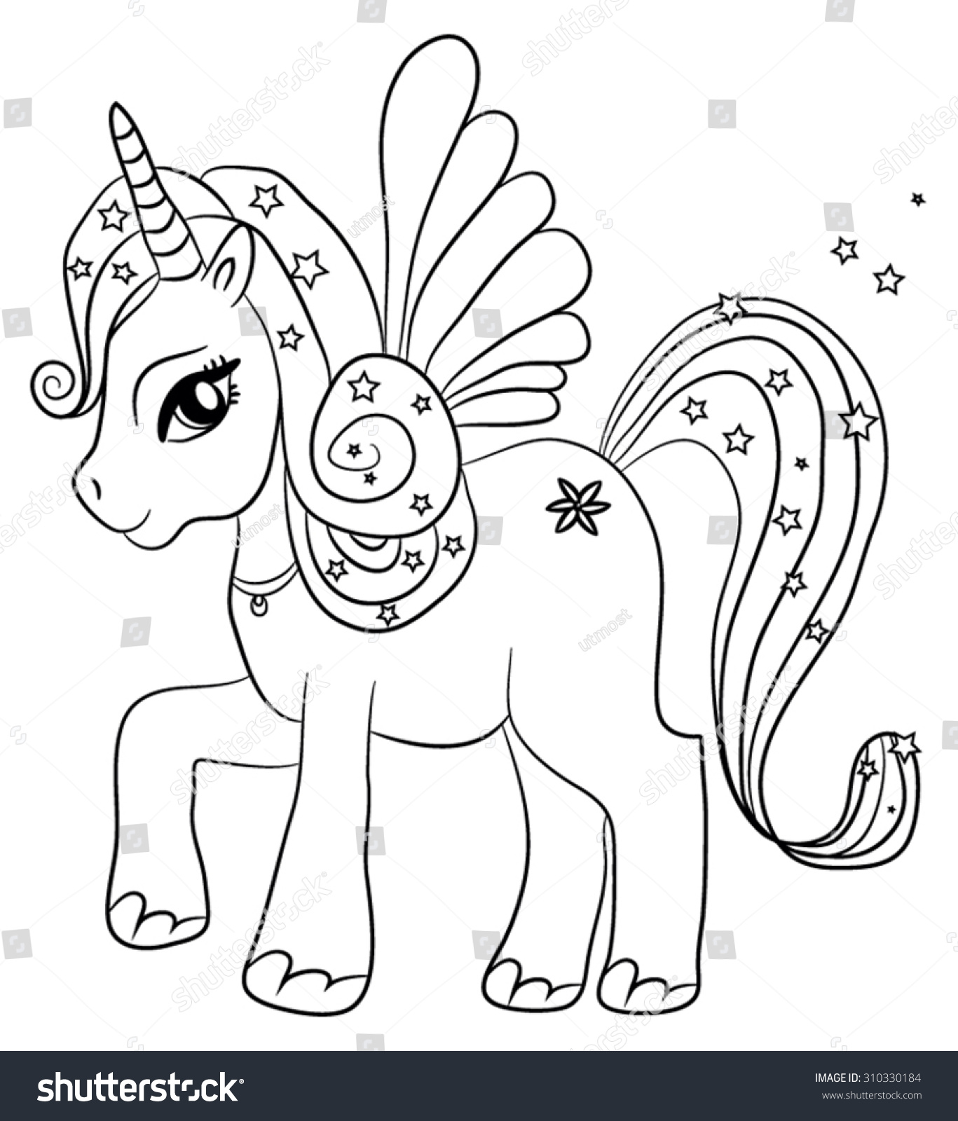 Cute Cartoon Fairytale Unicorn Coloring Page Stock Vector Royalty
