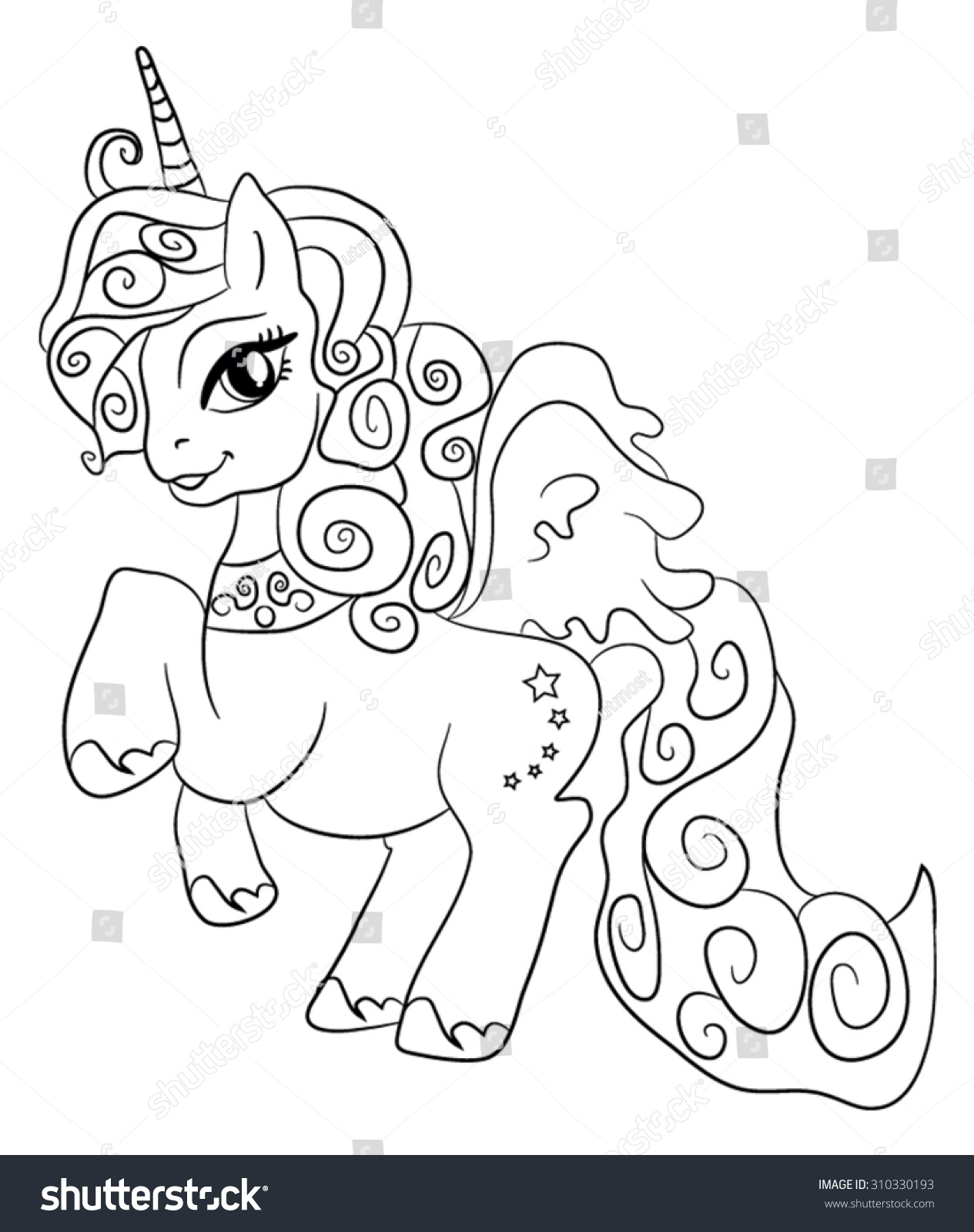 Unicorns coloring pages - Cute Cartoon Fairytale Unicorn Coloring Page For Kids
