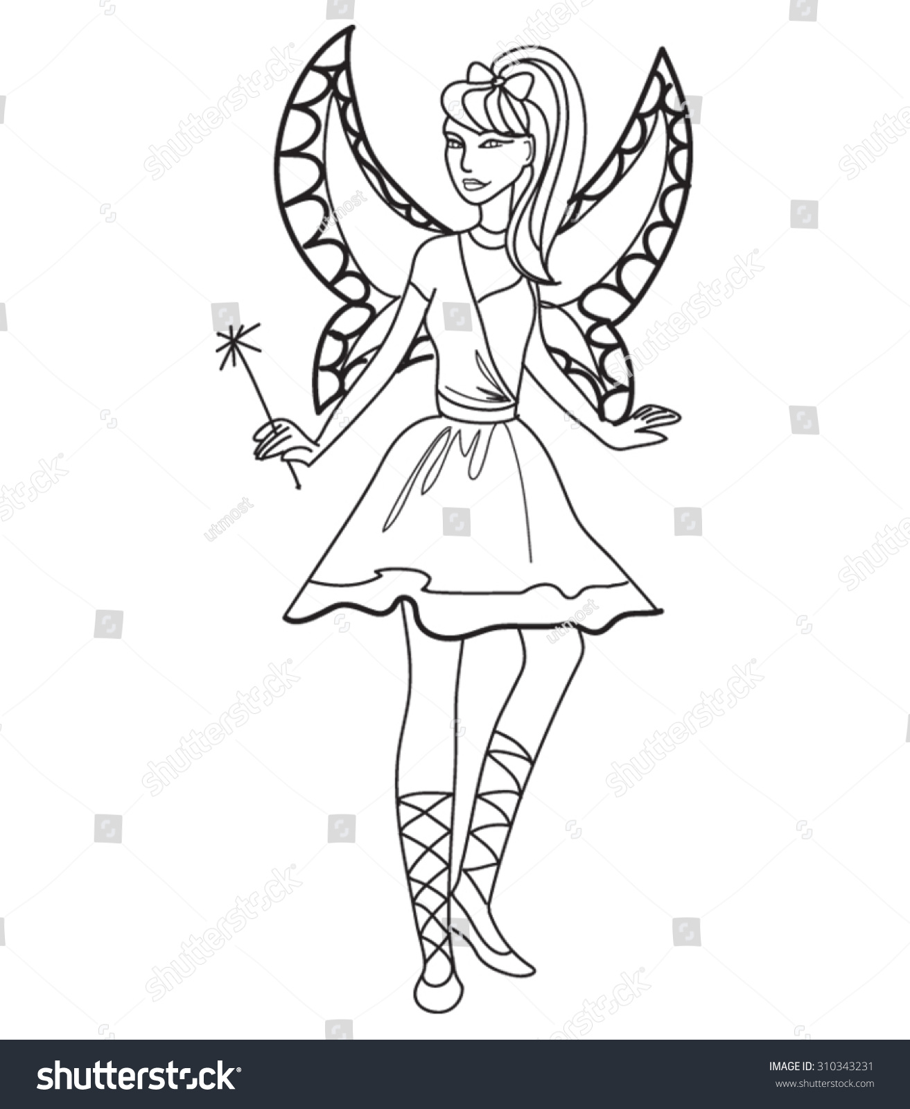 Beautiful Little Fairy Coloring Page Kids Stock Vector 310343231 ...