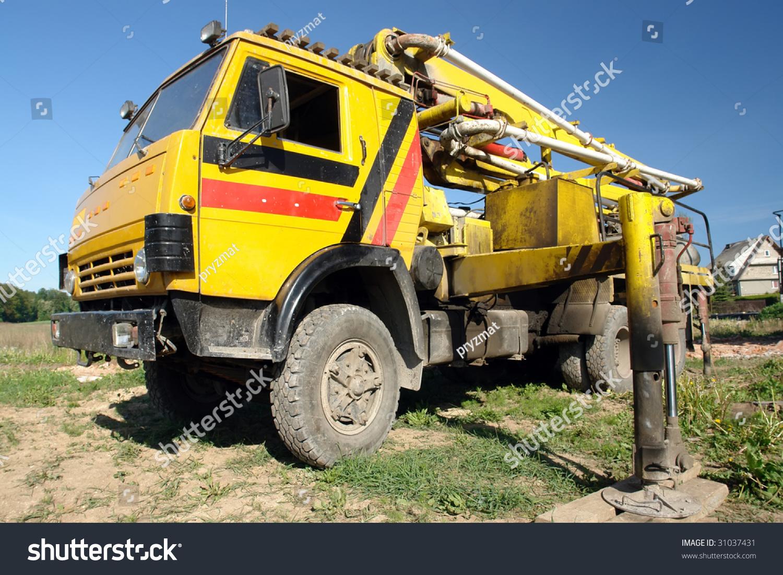 Yellow Concrete Mix Pump Truck Parked Stock Photo 31037431 ...