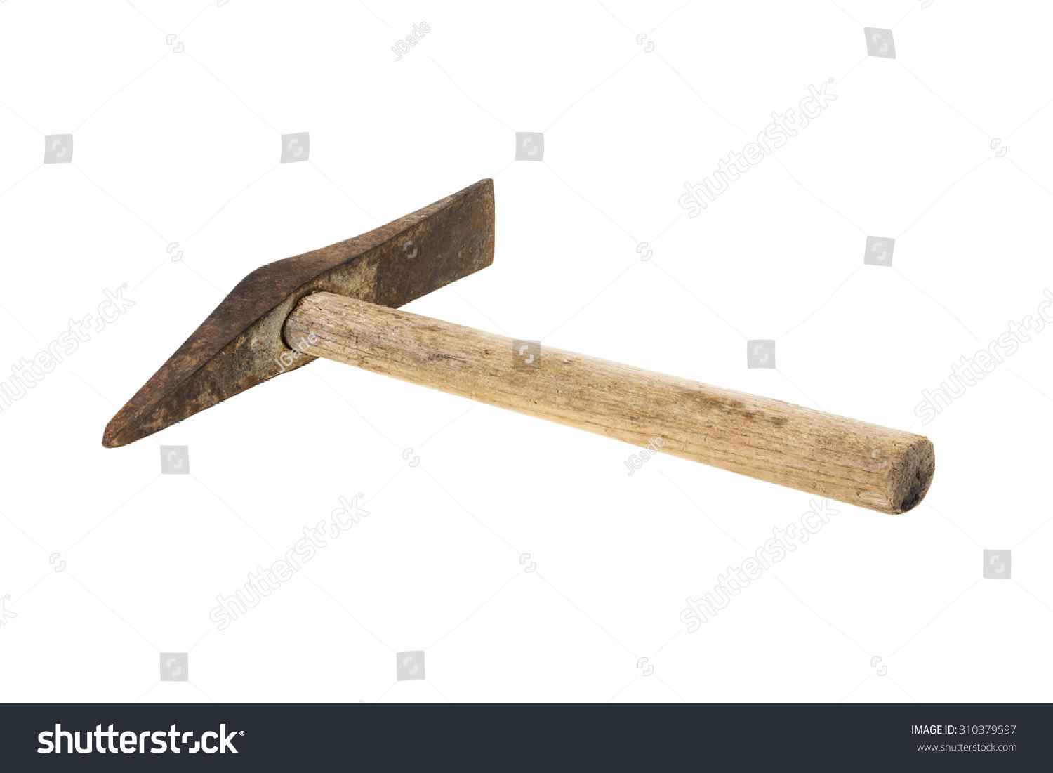 old and rusty welding or chipping hammer isolated on white background