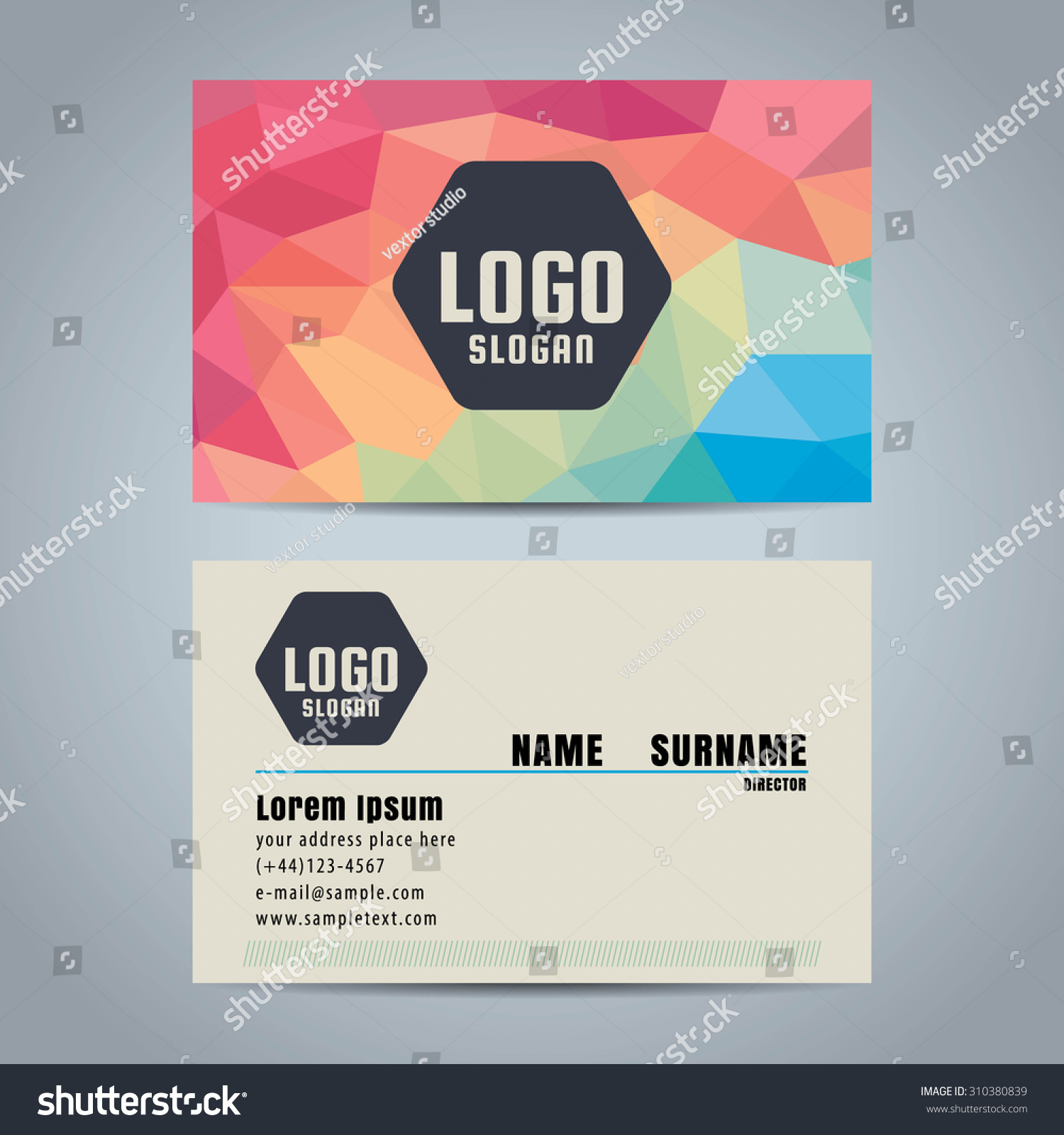 Clean Simple Modern Business Card Template Stock Photo (Photo ...