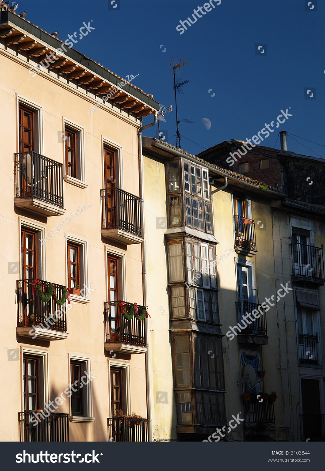 Old Houses Moon Daylight Vitoria Basque Stock Photo (Edit