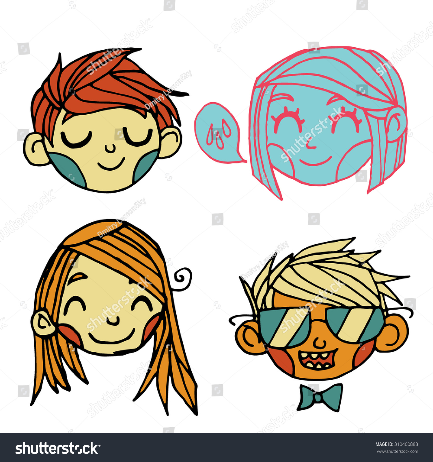 Vector cartoon flat cute faces set stock vector 310400888 - Cartoon wallpaper for tablet ...