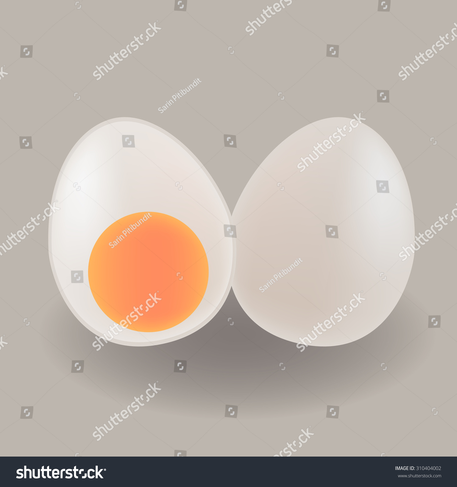 stock vector cute boiled white duck egg white egg and yolk section in front view 310404002 cute boiled white duck egg white stock vector (royalty free