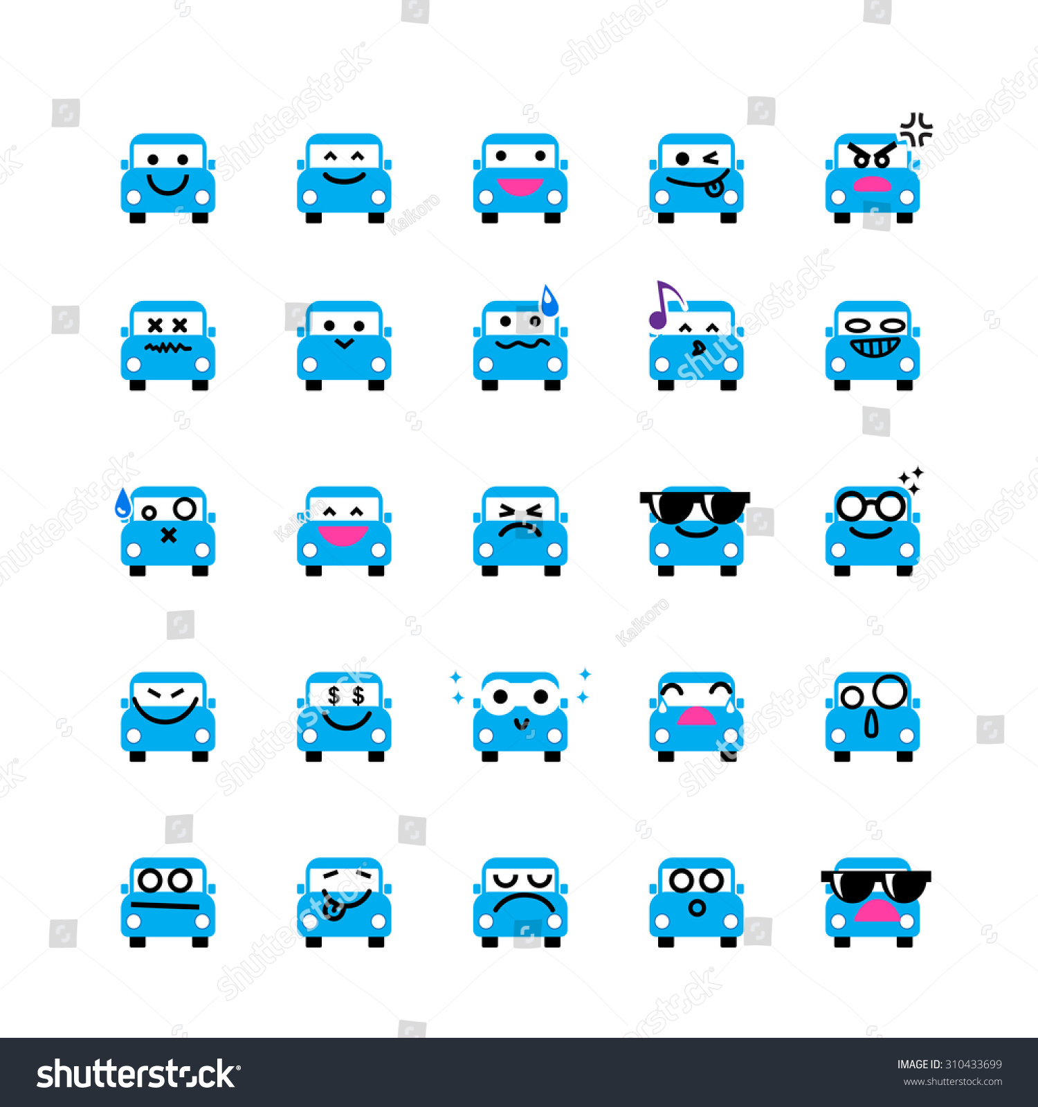 Collection of difference emoticon icon of car on the white background vector illustration