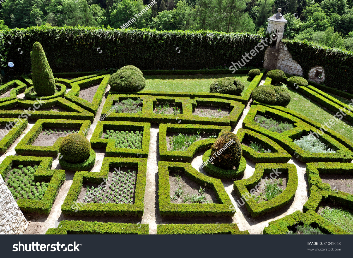 Maze garden polish castle pieskowa skala stock photo for Garden maze designs