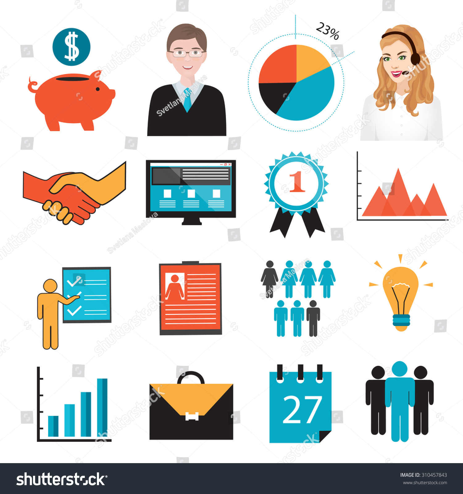 Business Symbols Icons Piggy Bank Resume Stock Vector (Royalty Free ...