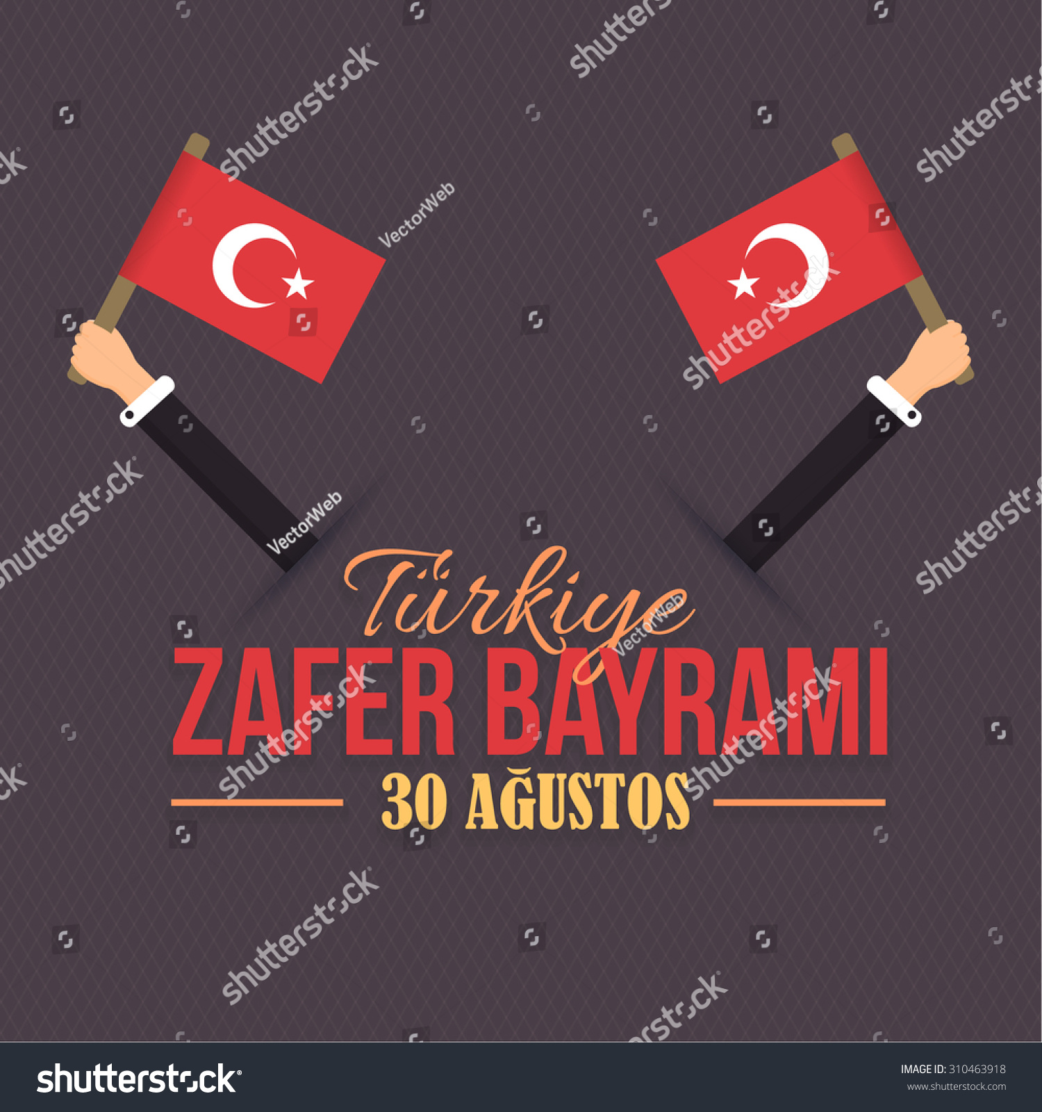 Turkey victory day concept celebration card stock vector 310463918 turkey victory day concept celebration card and greeting message poster background web banner or kristyandbryce Images