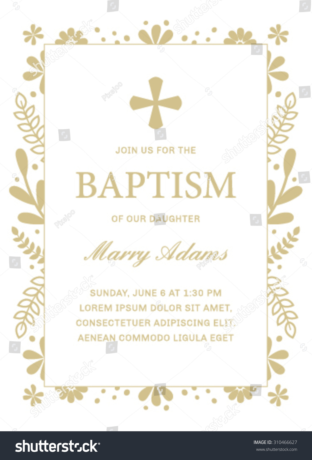 Baptism Template Floral Frame Stock Vector 310466627 - Shutterstock